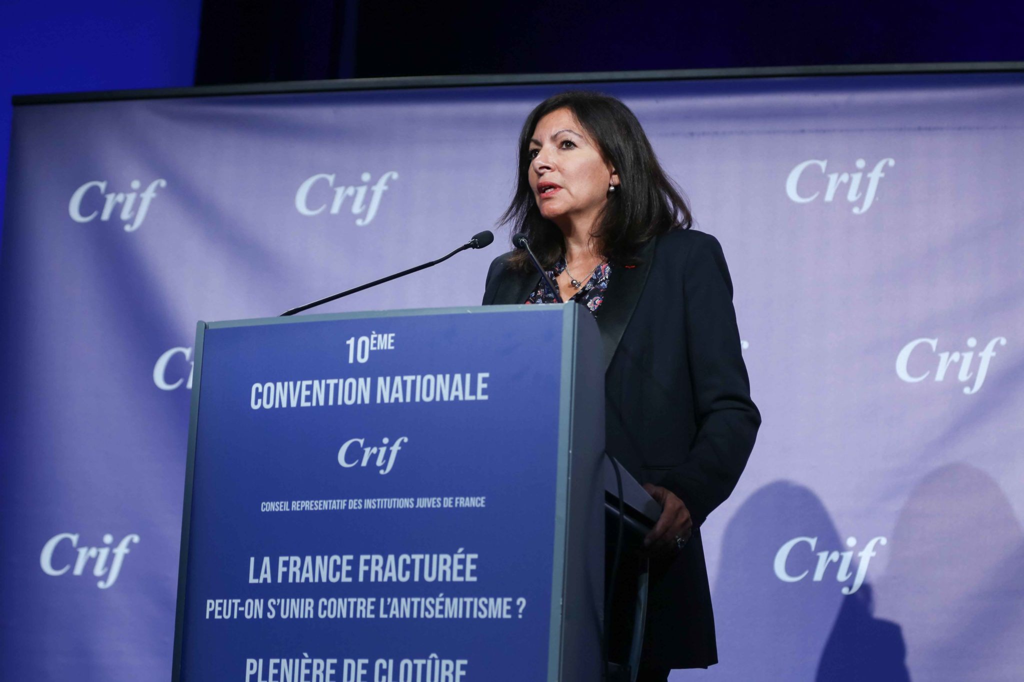 Paris' mayor Anne Hidalgo takes part in the 10th national convention of the Representative Council of Jewish Institutions of France (CRIF - Conseil Representatif des Institutions juives de France) on November 17, 2019, at Le Palais des Congres in Paris.