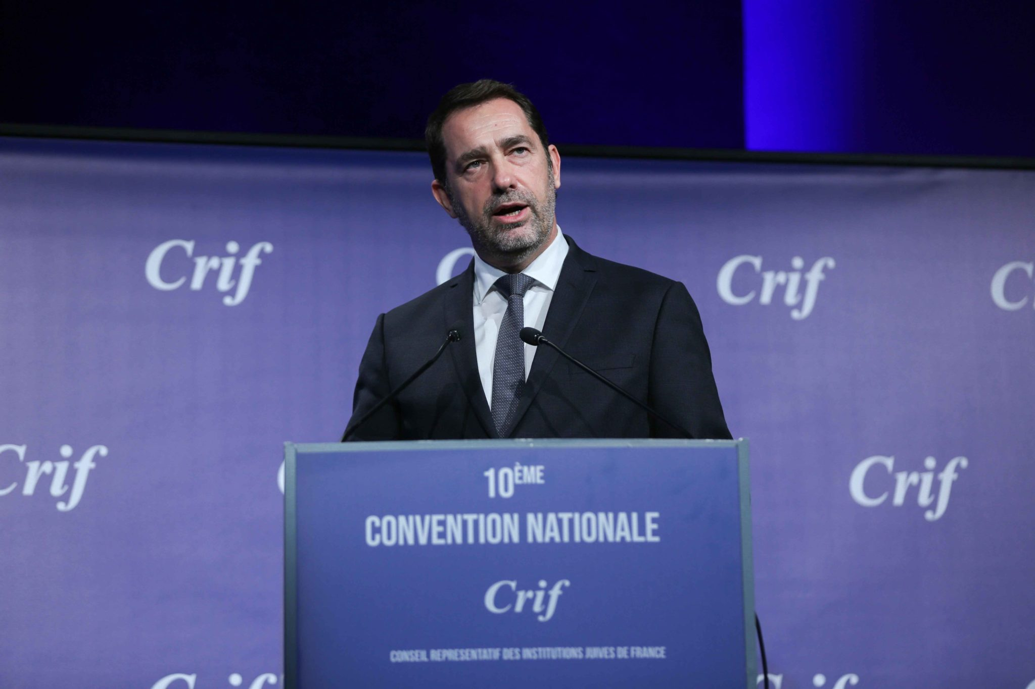 French Interior Minister Christophe Castaner takes part in the 10th national convention of the Representative Council of Jewish Institutions of France (CRIF - Conseil Representatif des Institutions juives de France) on November 17, 2019, at Le Palais des C