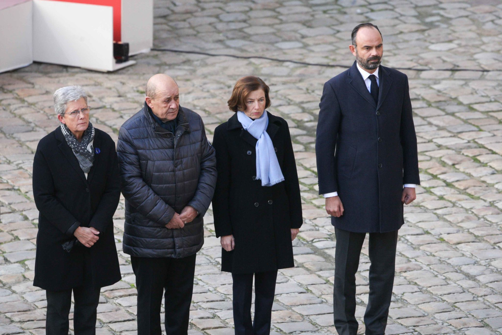 (R to L) French Prime Minister Edouard Philippe,  French Defence Minister Florence Parly,  French Foreign Affairs Minister Jean-Yves Le Drian and French Junior Defence Minister Genevieve Darrieussecq  attend a tribute ceremony on December 2, 2019 at the In