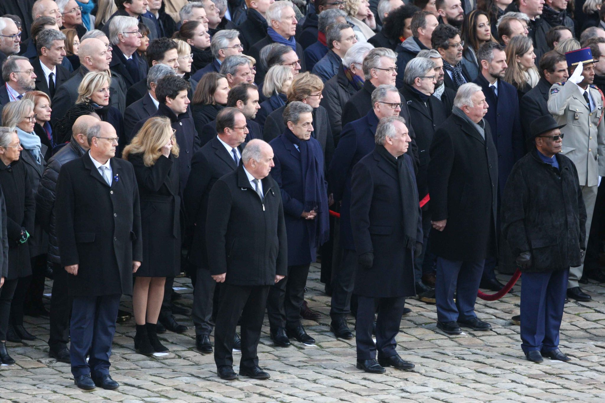 (2nd row from C to L) French former president Nicolas Sarkozy, French former president Francois Hollande and French Justice Minister Nicole Belloubet attend a tribute ceremony on December 2, 2019 at the Invalides monument, in Paris, for the 13 French soldi