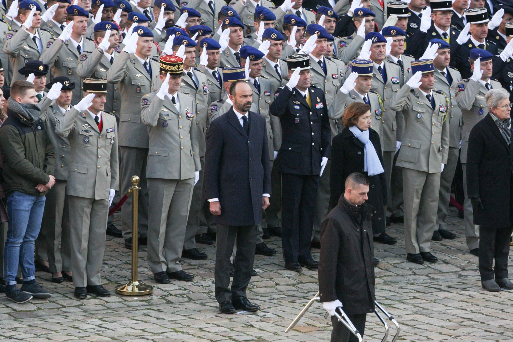 (1st row from L to R) French Prime Minister Edouard Philippe, French Defence Minister Florence Parly and French Junior Defence Minister Genevieve Darrieussecq attend a tribute ceremony on December 2, 2019 at the Invalides monument, in Paris, for the 13 Fre