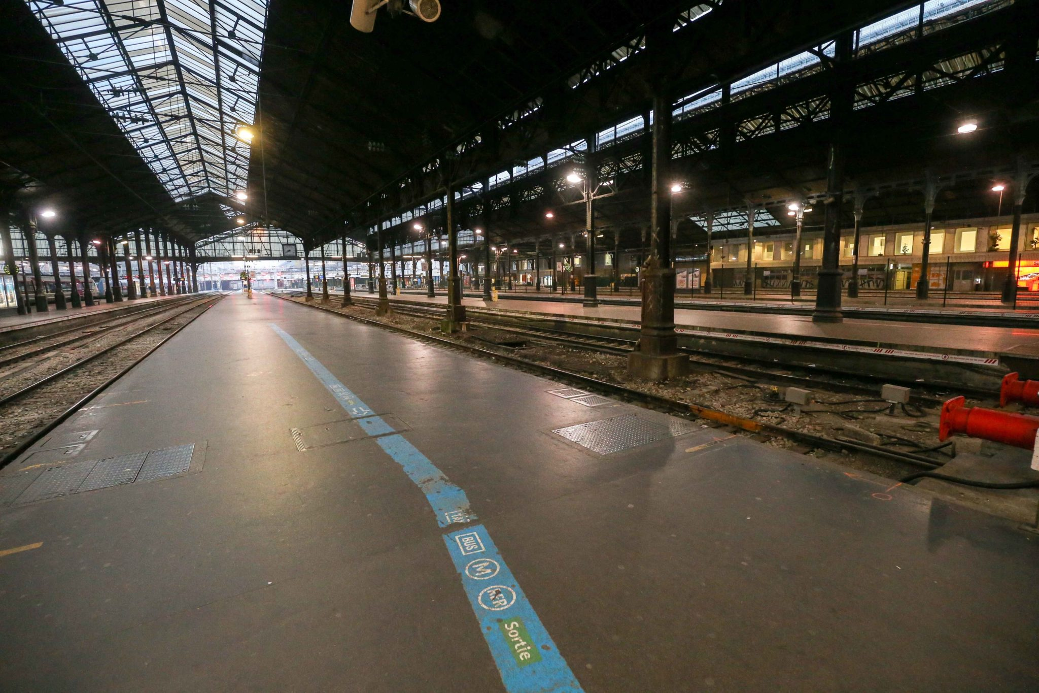Paris Gare Saint-Lazare is seen without passengers during a strike of Paris public transports operator RATP and public railways company SNCF employees against French government's plan to overhaul the country's retirement system, as part of a national gener
