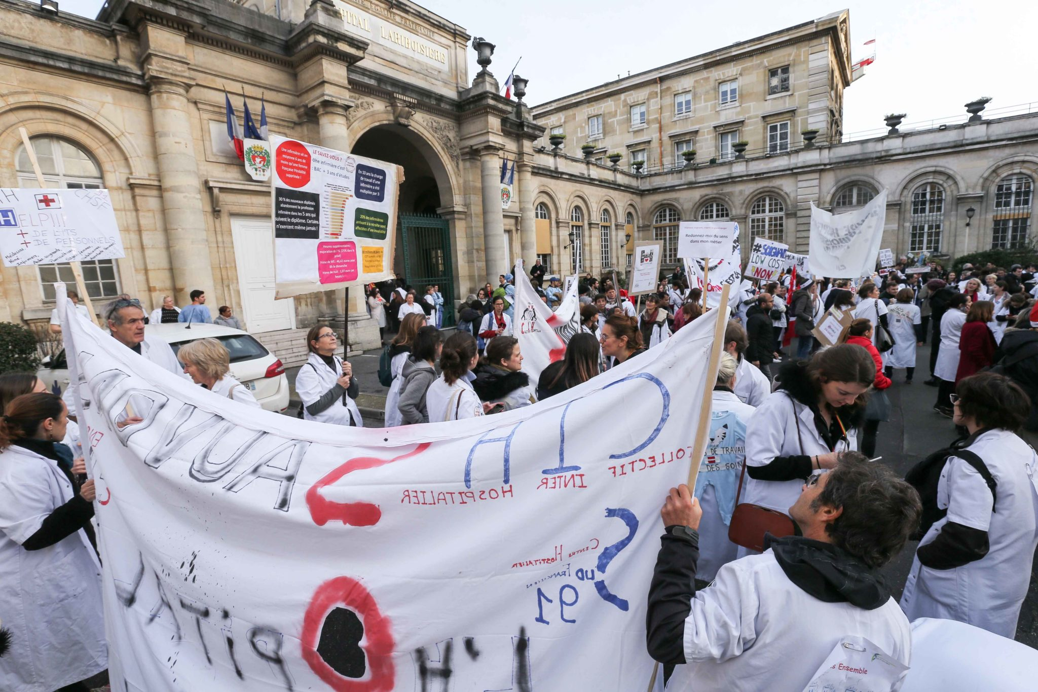 Gathering outside the Lariboisiere hospital in Paris on December 17, 2019 to protest in favour of public hospital in order to demand more resources for the hospital as part of a third countrywide day of multi-sector protests over a government pensions over