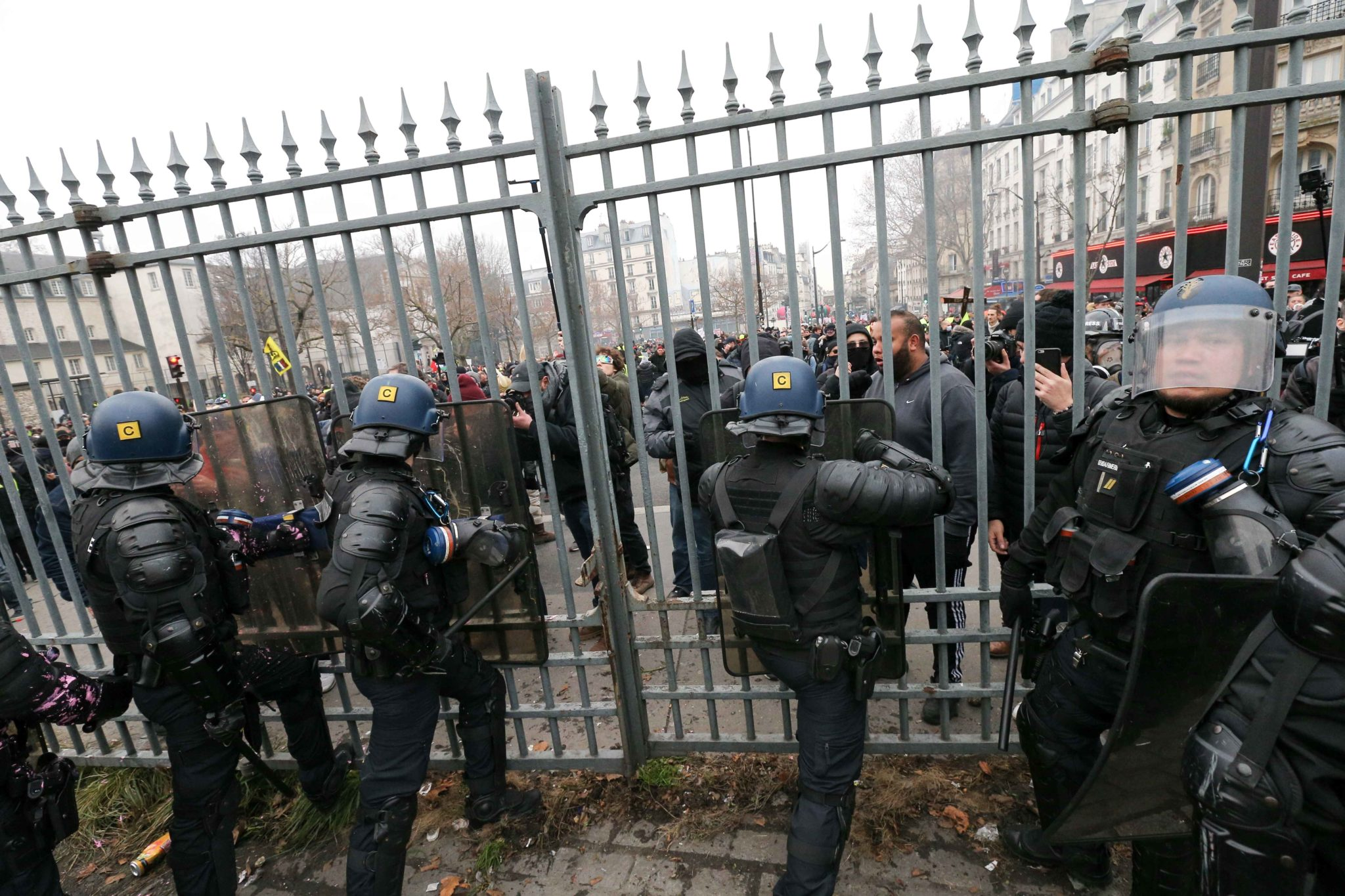 Riot mobile gendarmes prevents intrusion of demonstrators in the Gare de l'Est train station in Paris during a demonstration called by French national trade union General Confederation of Labour (CGT) against the pension reform on January 4, 2020. After