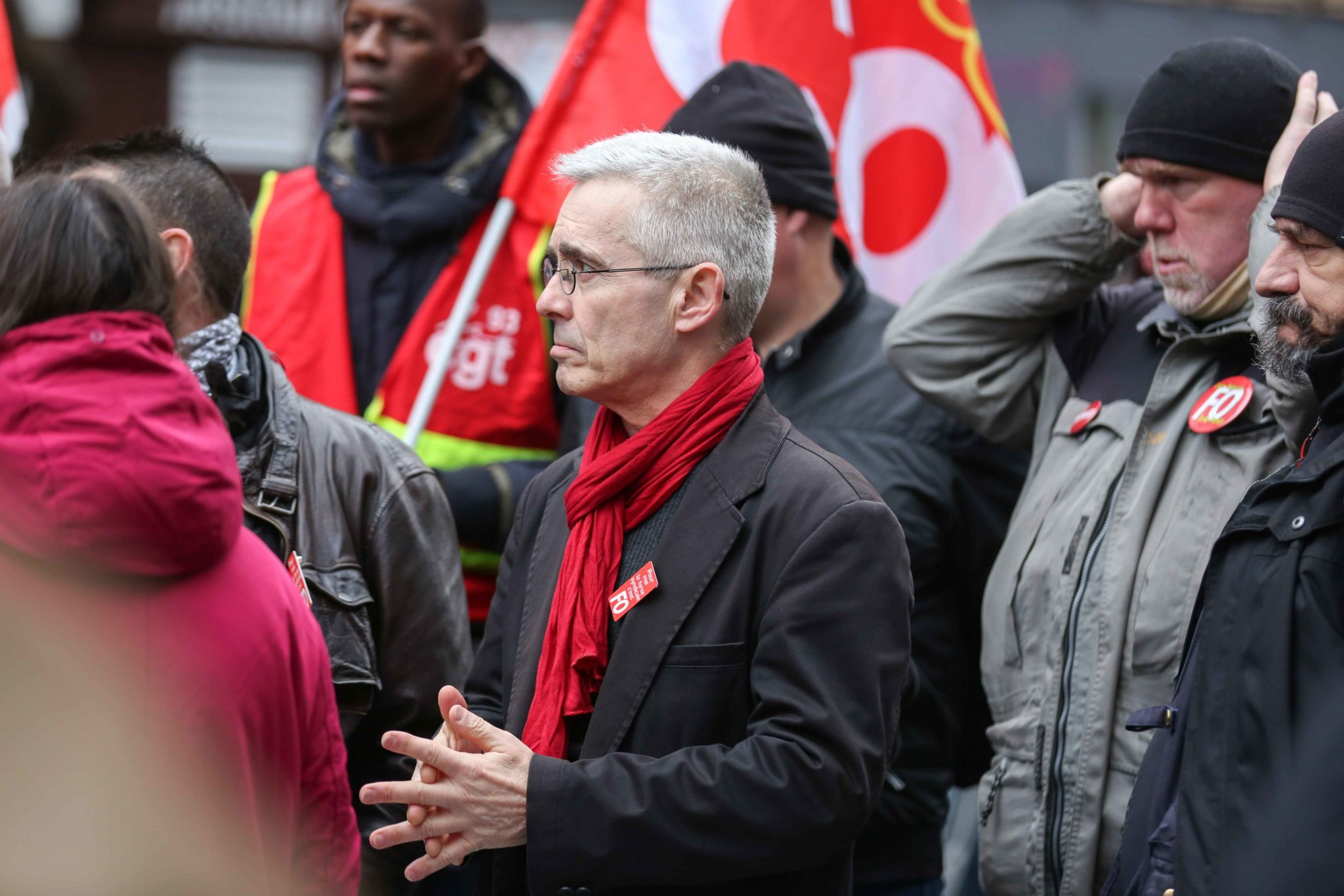General secretary of French Union Force Ouvriere (FO) Yves Veyrier (C) takes part in a demonstration in Paris, on January 9, 2020, on the 36th day of a nationwide multi-sector strike against French government's pensions overhaul.