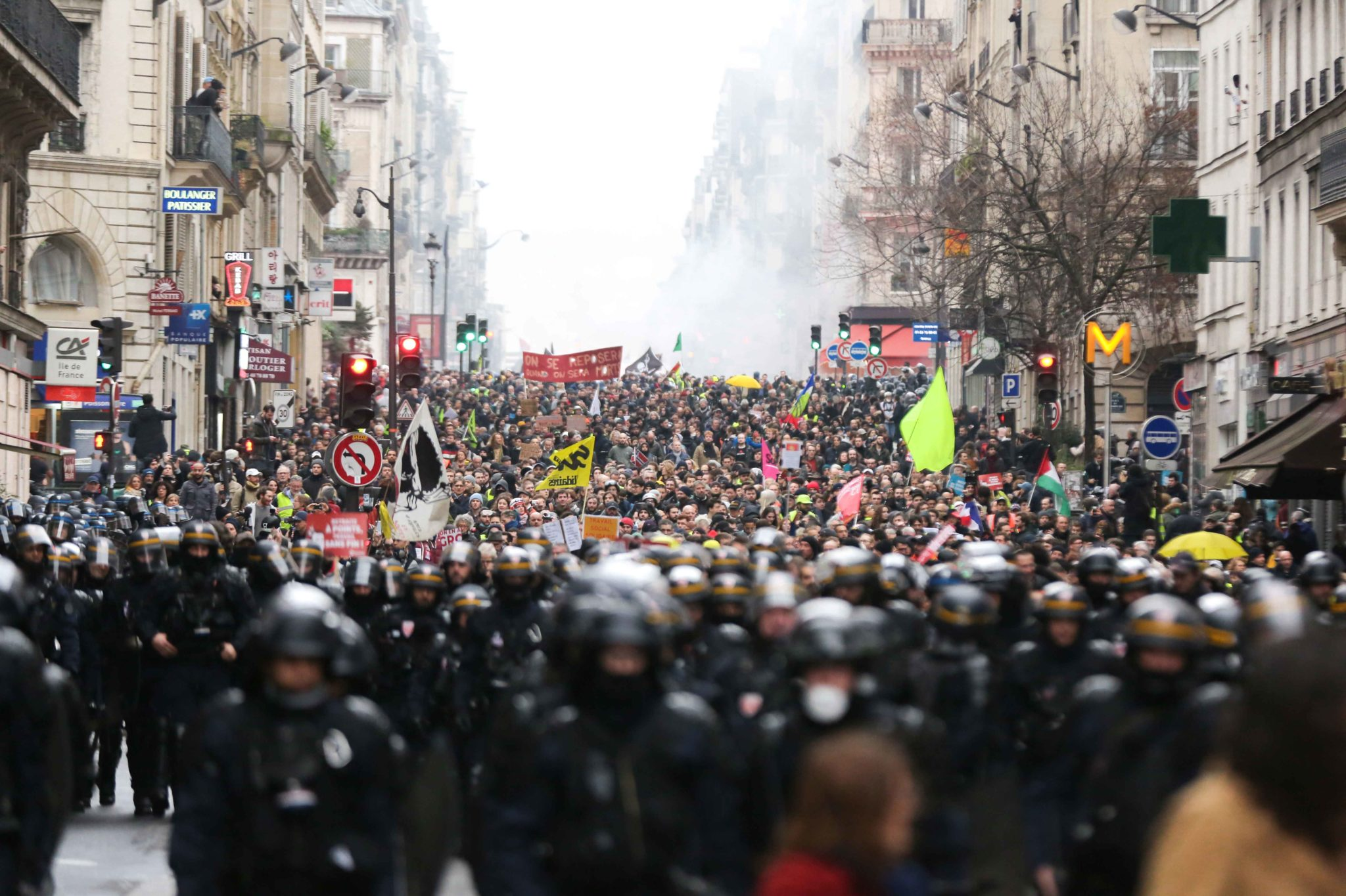 Protestors take to the street during a demonstration in Paris, on January 9, 2020, on the 36th day of a nationwide multi-sector strike against French government's pensions overhaul.
