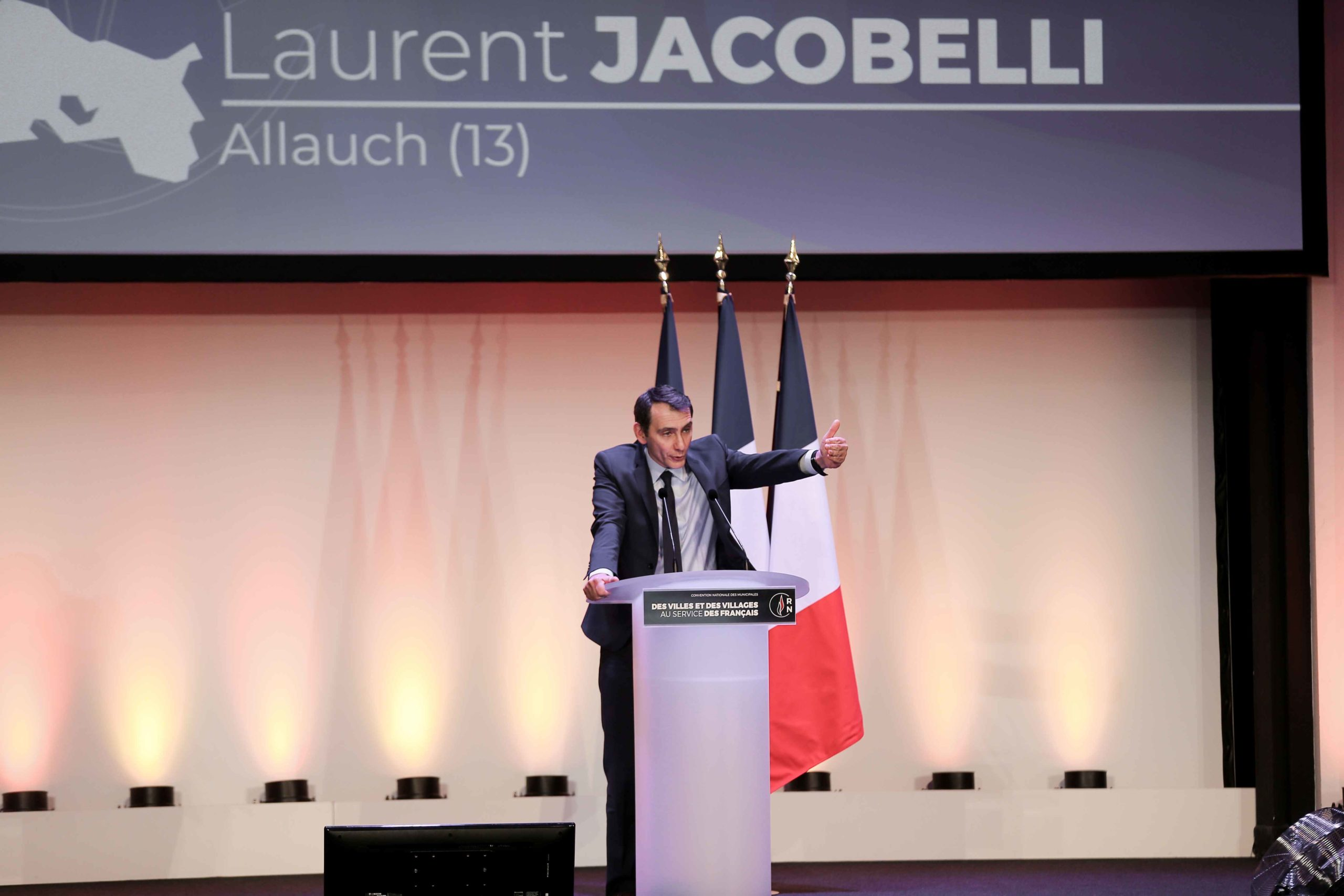Laurent Jacobelli, the Rassemblement national (RN) candidate in the forthcoming mayoral election in Allauch (Bouches-du-Rhône), speaks in Paris, on January 12, 2020, during a meeting to launch the RN campaign candidates for the next municipal elections.