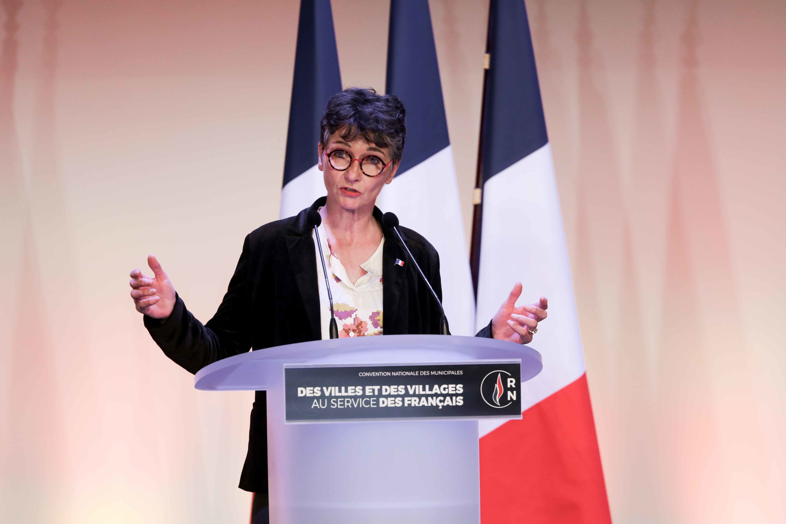 Françoise Grolet, the Rassemblement national (RN) candidate in the forthcoming mayoral election in Metz (Moselle), speaks in Paris, on January 12, 2020, during a meeting to launch the RN campaign candidates for the next municipal elections.  The 2020 Fren