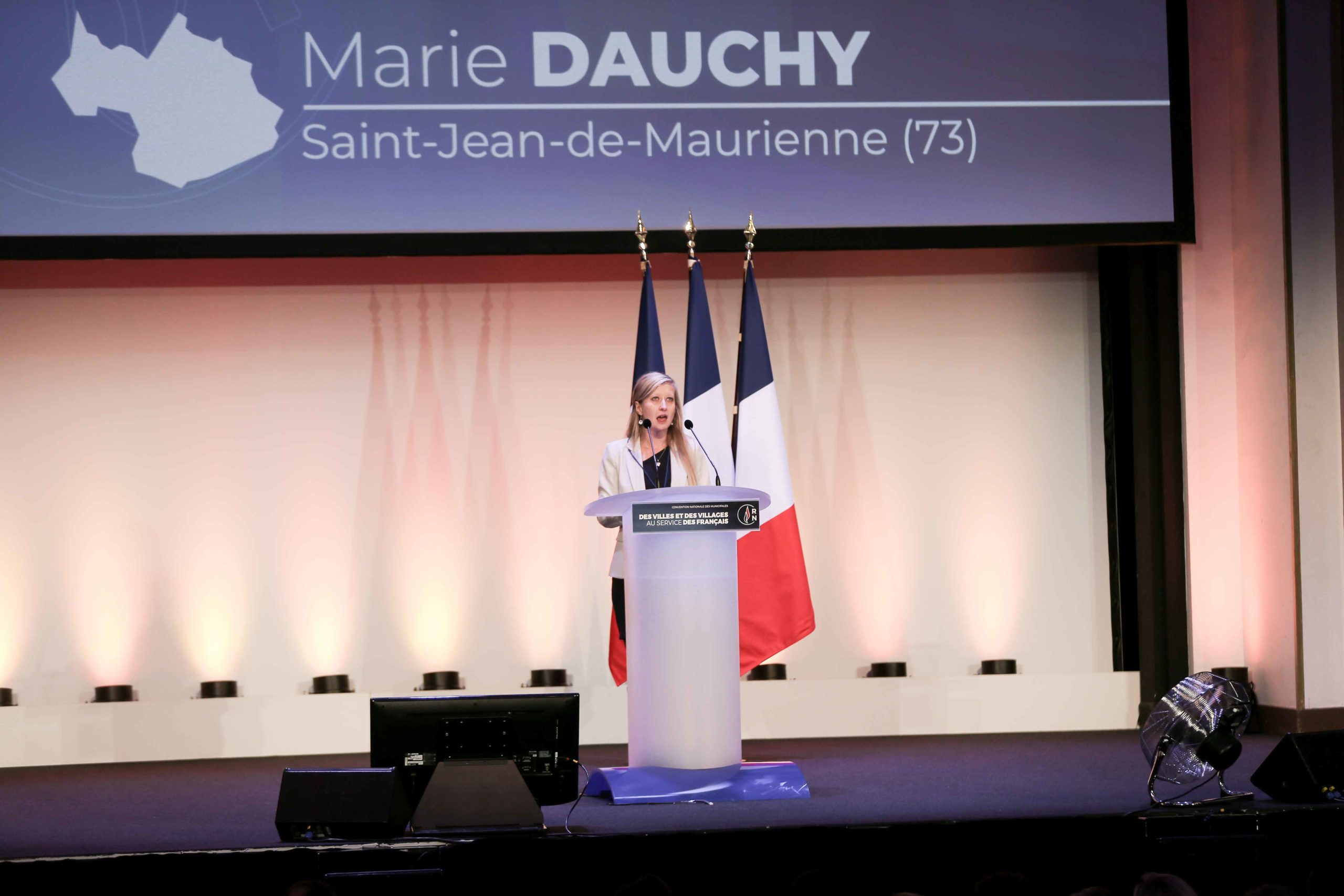 Marie Dauchy, the Rassemblement national (RN) candidate in the forthcoming mayoral election in Saint-Jean-de-Maurienne (Savoie), speaks in Paris, on January 12, 2020, during a meeting to launch the RN campaign candidates for the next municipal elections.
