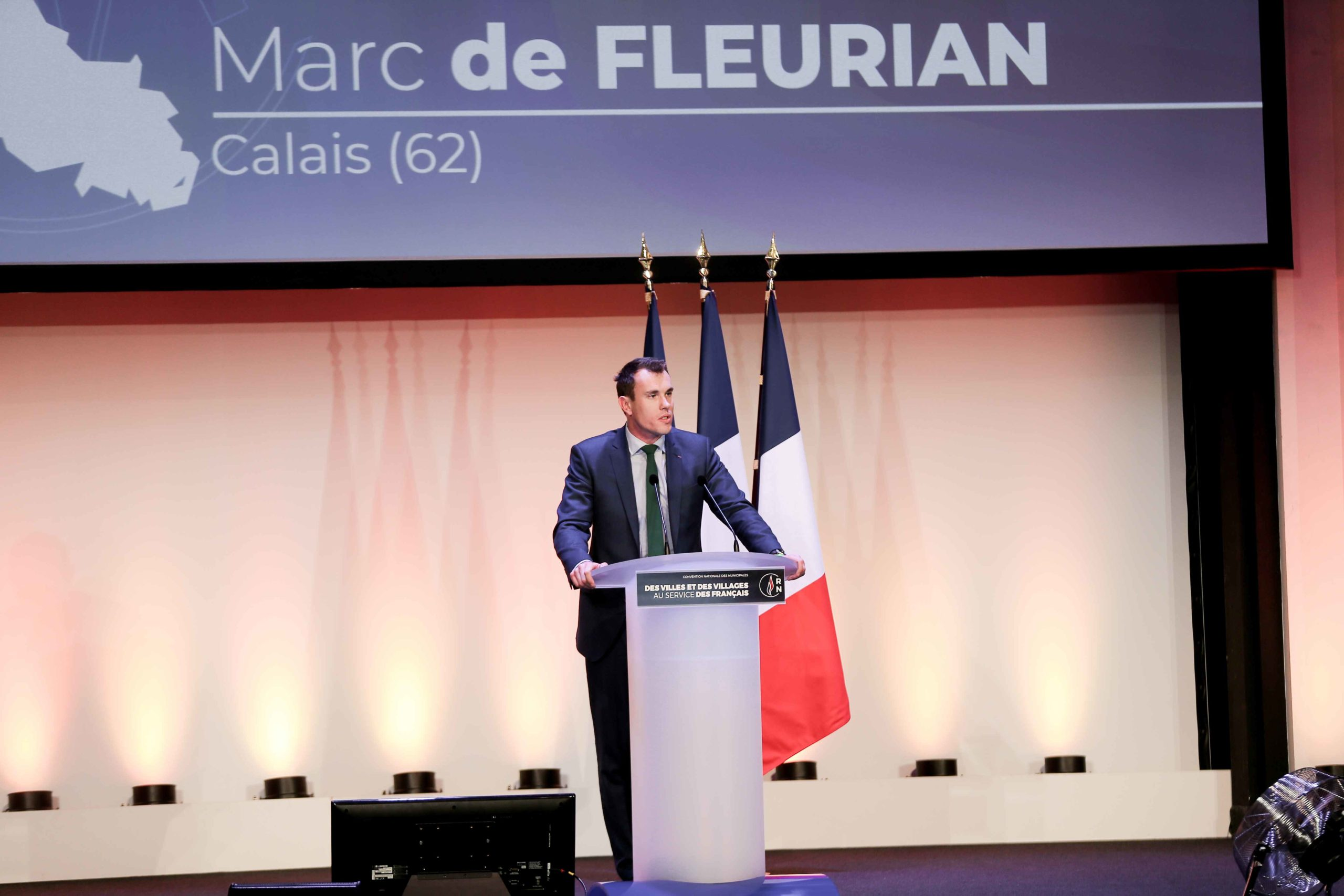 Marc de Fleurian, the Rassemblement national (RN) candidate in the forthcoming mayoral election in Calais (Pas-de-Calais), speaks in Paris, on January 12, 2020, during a meeting to launch the RN campaign candidates for the next municipal elections.  The 20