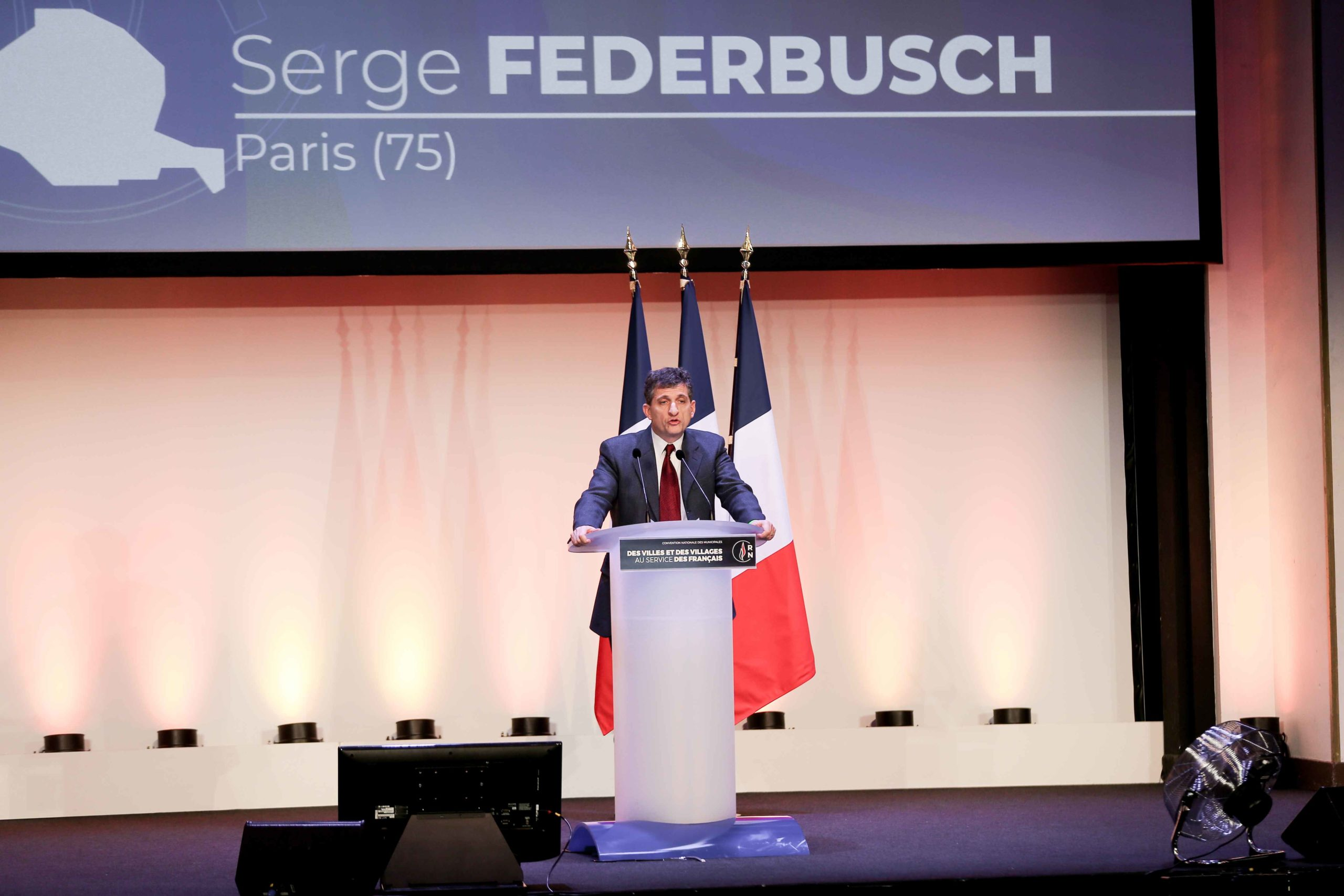 Serge Federbusch, the Rassemblement national (RN) candidate in the forthcoming mayoral election in Paris, speaks in Paris, on January 12, 2020, during a meeting to launch the RN campaign candidates for the next municipal elections.  The 2020 French municip