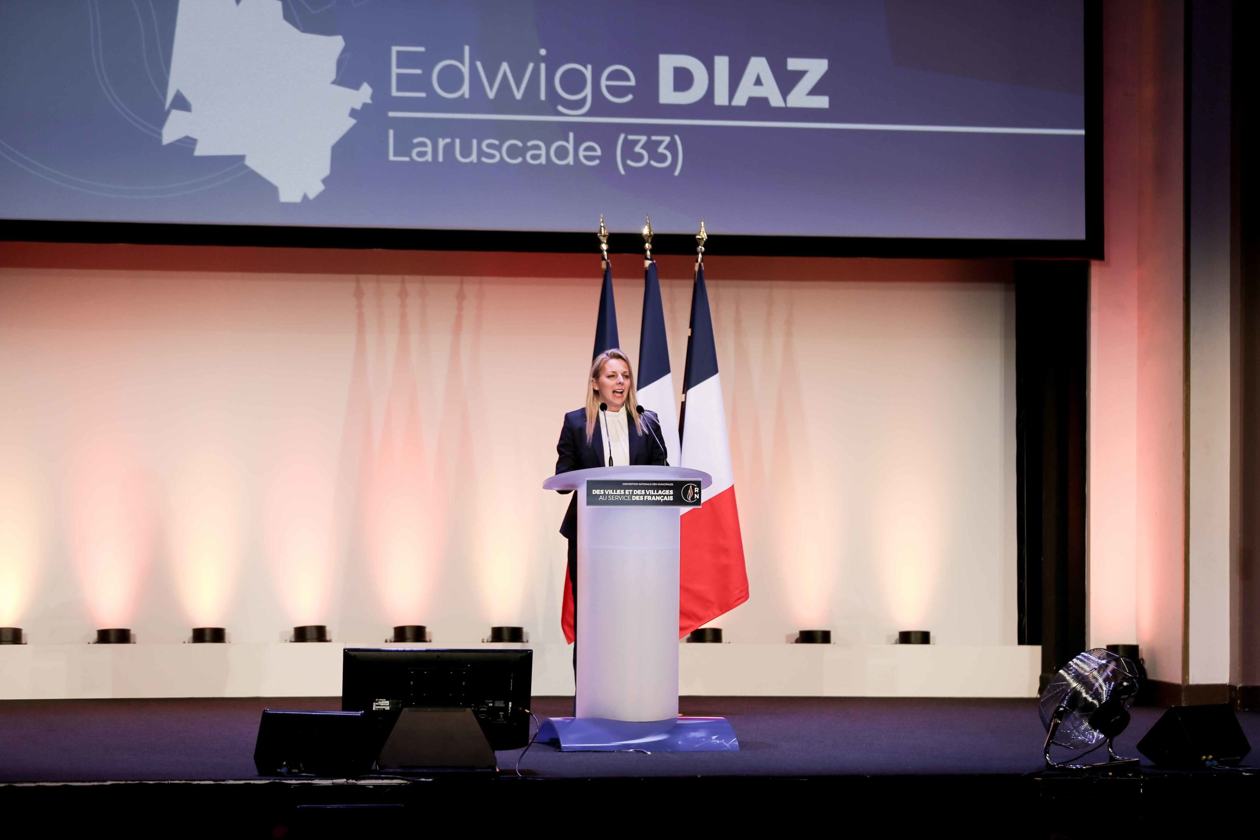 Edwige Diaz, the Rassemblement national (RN) candidate in the forthcoming mayoral election in Laruscade (Gironde),speaks in Paris, on January 12, 2020, during a meeting to launch the RN campaign candidates for the next municipal elections.  The 2020 French