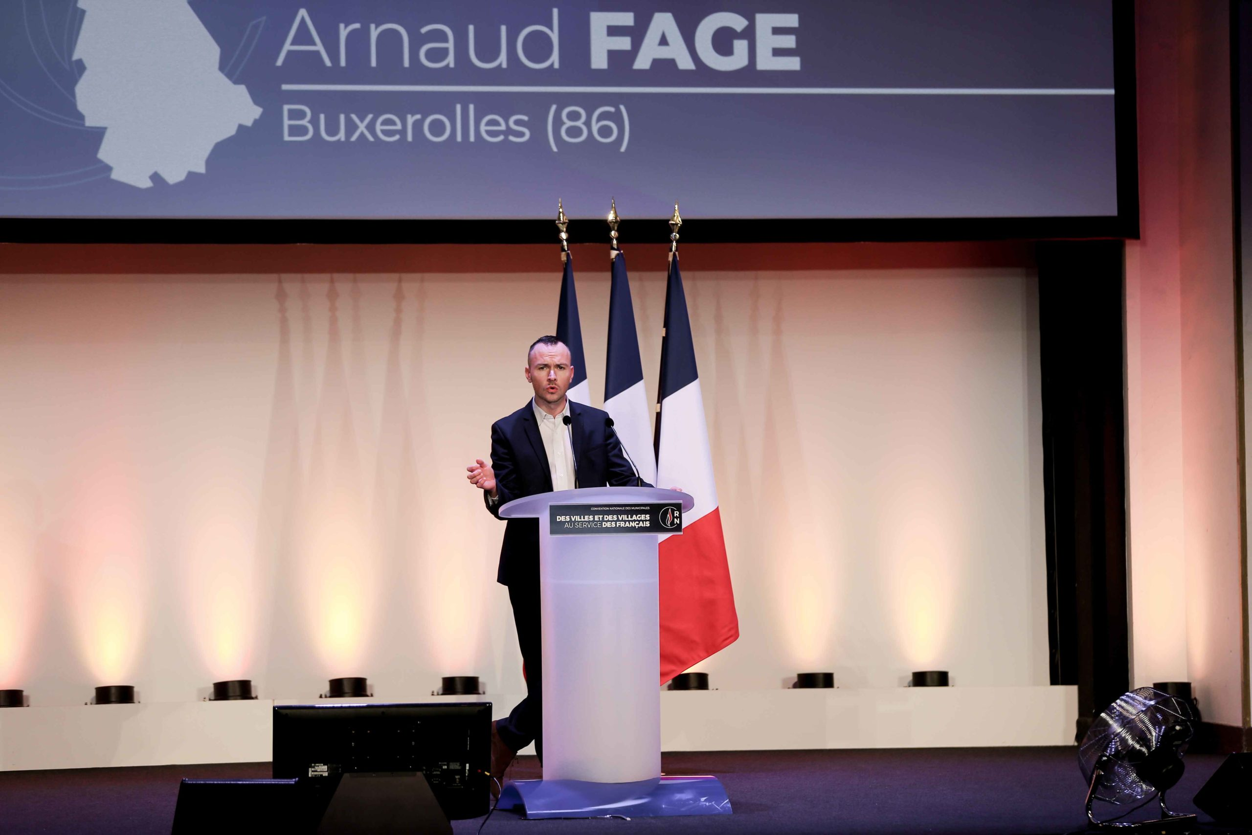 Arnaud Fage, the Rassemblement national (RN) candidate in the forthcoming mayoral election in Bruxerolles (Vienne), speaks in Paris, on January 12, 2020, during a meeting to launch the RN campaign candidates for the next municipal elections.  The 2020 Fren