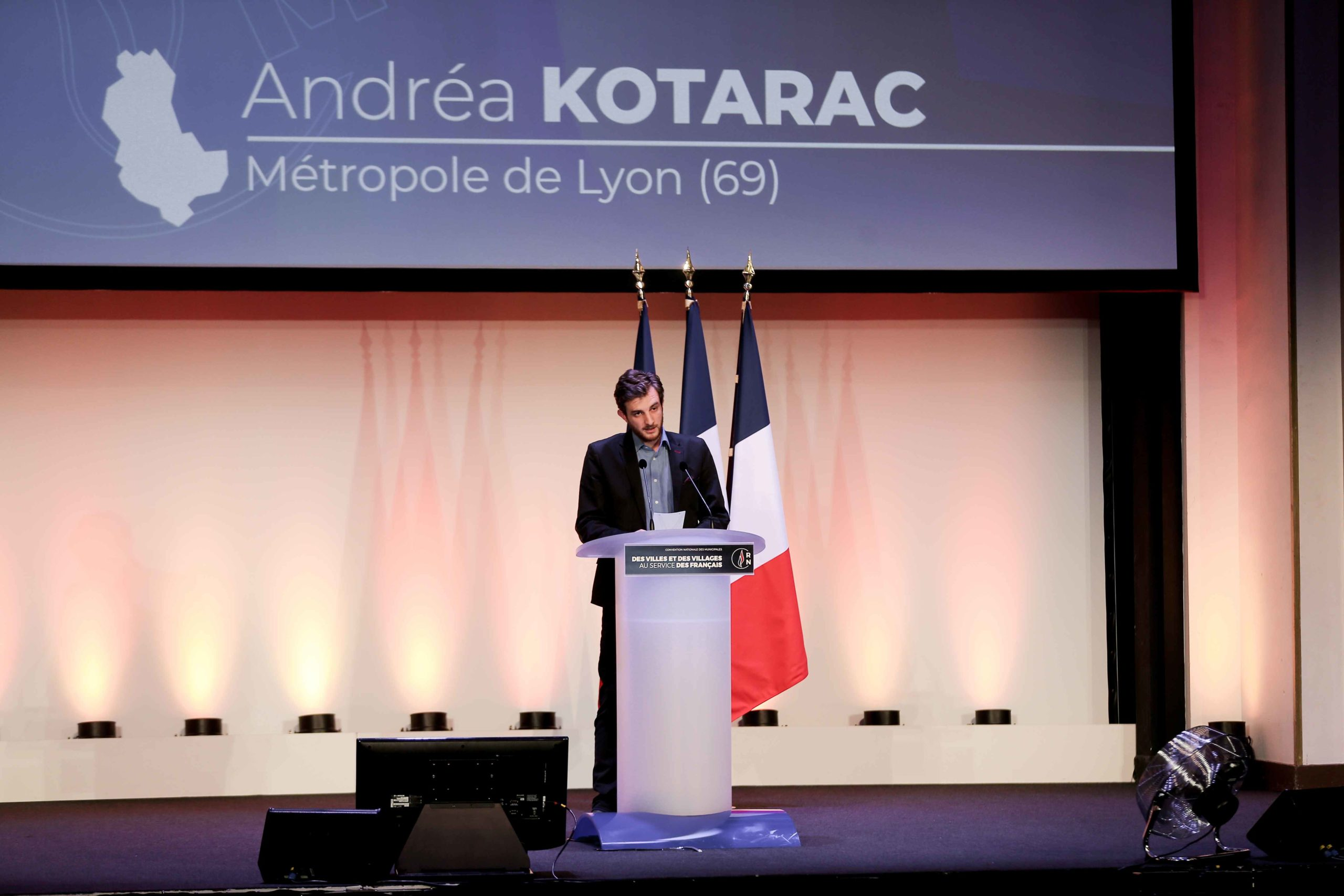 Andréa Kotarac, the Rassemblement national (RN) candidate in the forthcoming mayoral election in Lyon (Rhône), speaks in Paris, on January 12, 2020, during a meeting to launch the RN campaign candidates for the next municipal elections.  The 2020 French