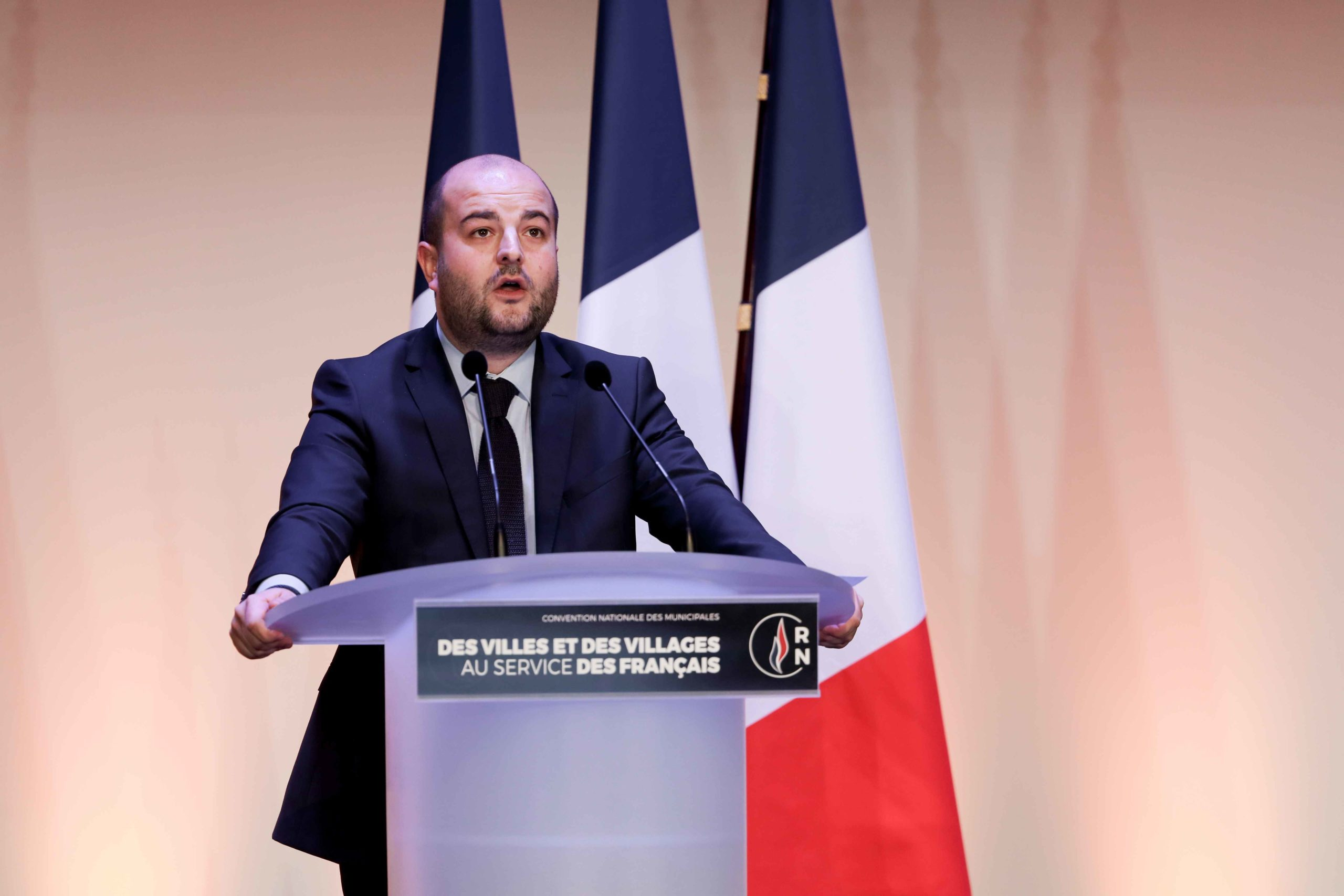 David Rachline, Mayor of Fréjus (Var) and the Rassemblement national (RN) candidate for re-election in the forthcoming mayoral election, speaks in Paris, on January 12, 2020, during a meeting to launch the RN campaign candidates for the next municipal ele