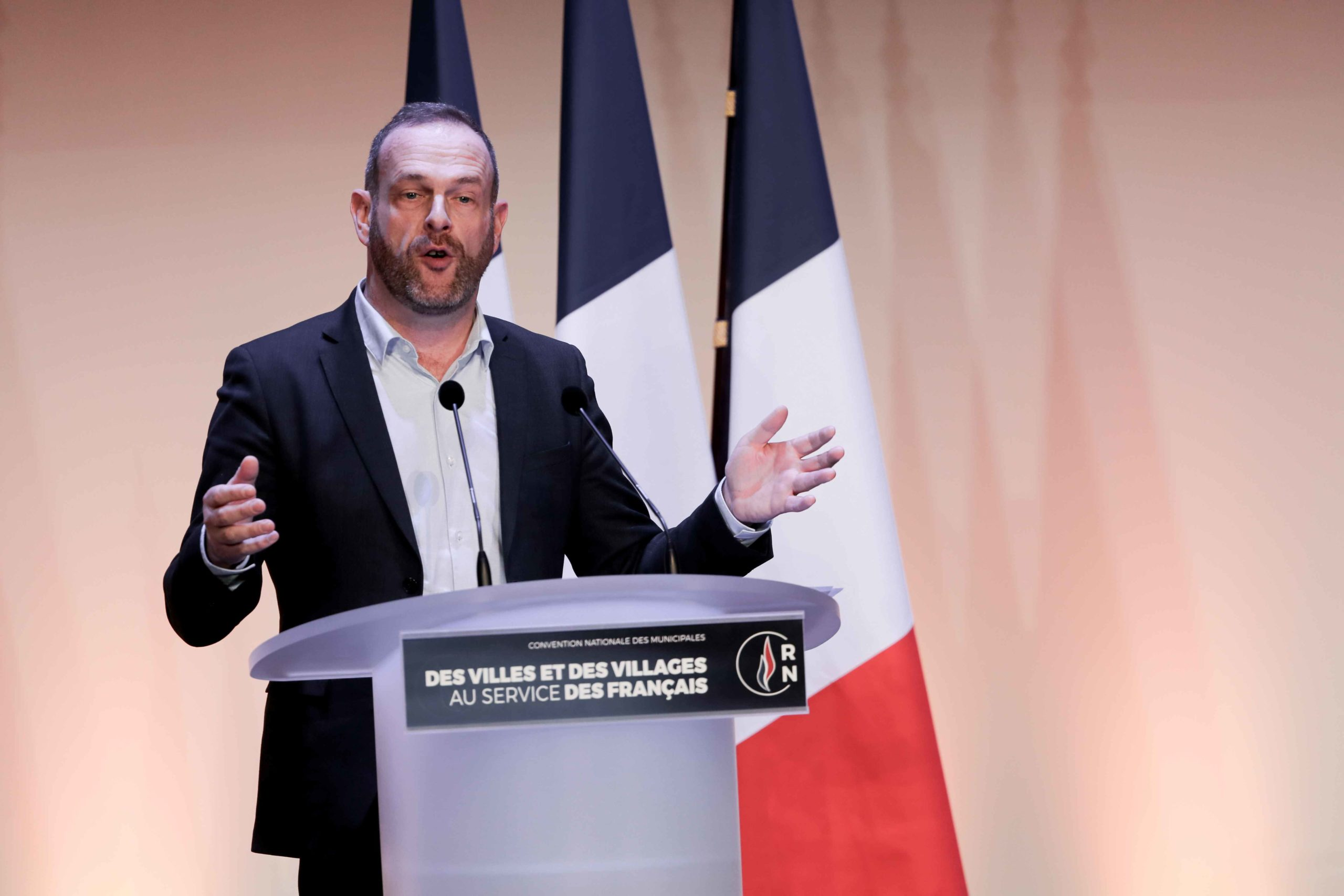 Steeve Briois, Mayor of Hénin Beaumont (Pas-de-Calais) and the Rassemblement national (RN) candidate for re-election in the forthcoming mayoral election, speaks in Paris, on January 12, 2020, during a meeting to launch the RN campaign candidates for the n