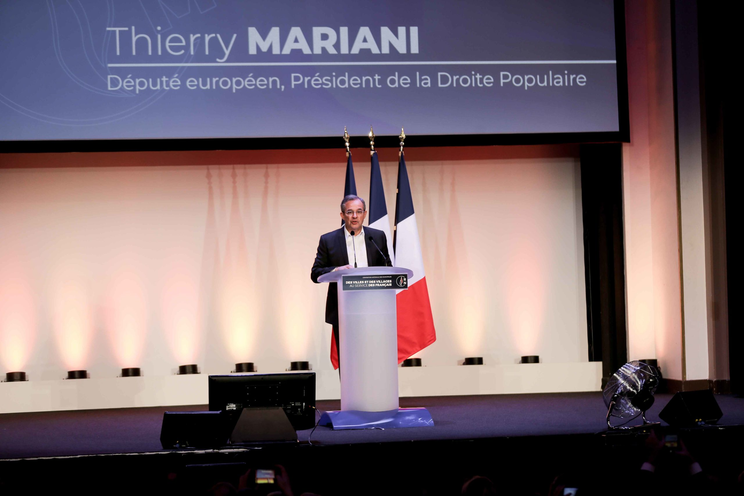 Thierry Mariani, French far-right Rassemblement National (RN) party member and Member of the European Parliament, speaks in Paris, on January 12, 2020, during a meeting to launch the RN campaign candidates for the next municipal elections.  The 2020 French