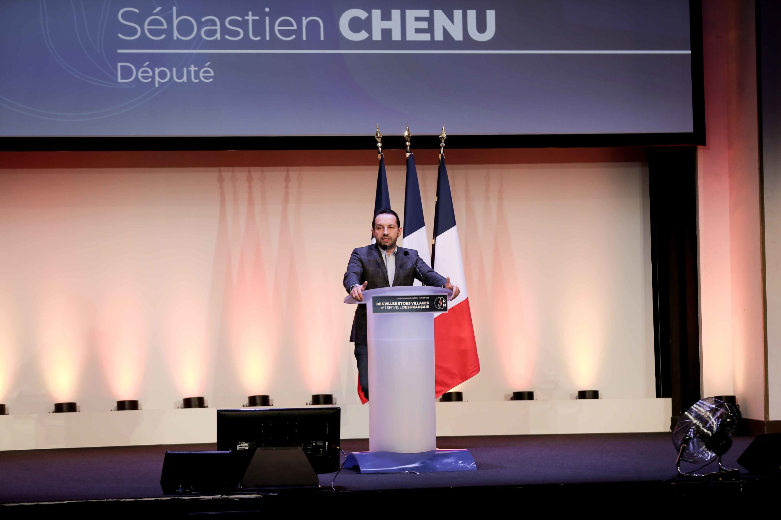 Sébastien Chenu, French far-right Rassemblement National (RN) party member and Member of the Parliament, speaks in Paris, on January 12, 2020, during a meeting to launch the RN campaign candidates for the next municipal elections.  The 2020 French municip