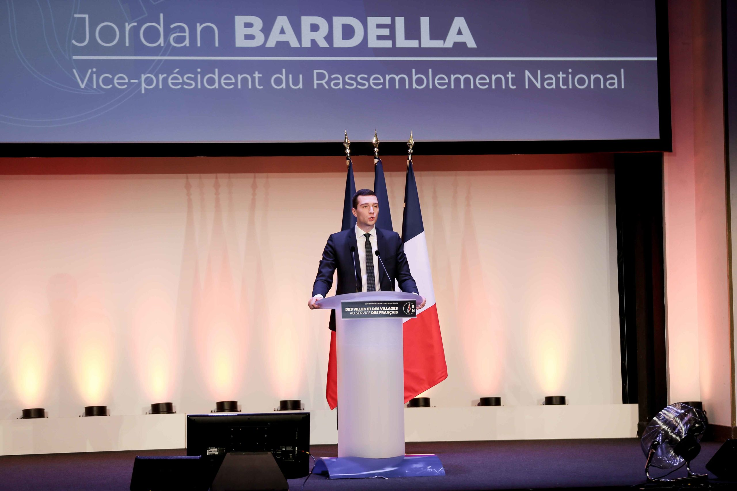 Jordan Bardella, French far-right Rassemblement National (RN) party member and Member of the Parliament, speaks in Paris, on January 12, 2020, during a meeting to launch the RN campaign candidates for the next municipal elections.  The 2020 French municipa