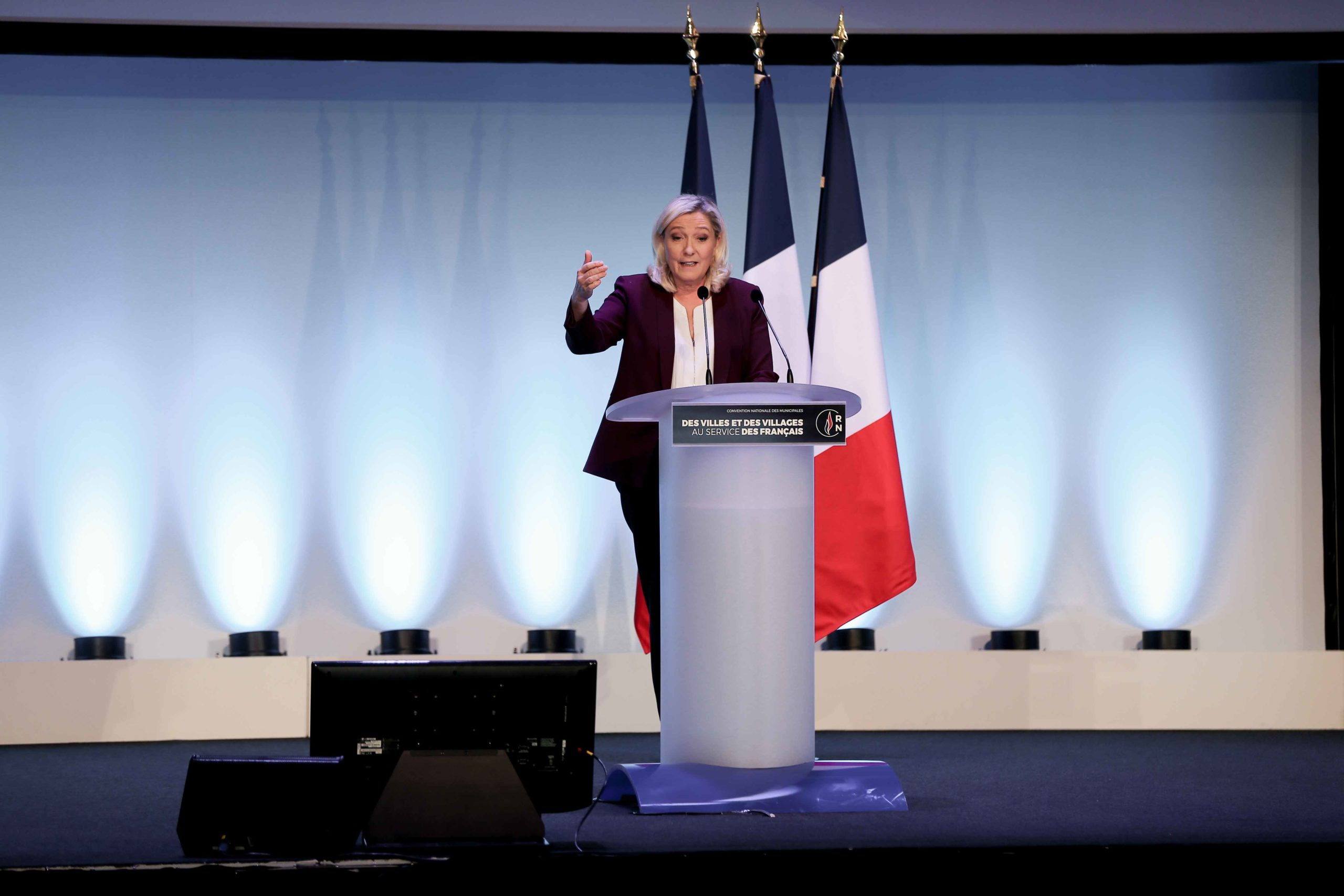 French far-right party Rassemblement National (RN) president and MP Marine Le Pen speaks in Paris, on January 12, 2020, during a meeting to launch the RN campaign candidates for the next municipal elections.  The 2020 French municipal elections will be hel