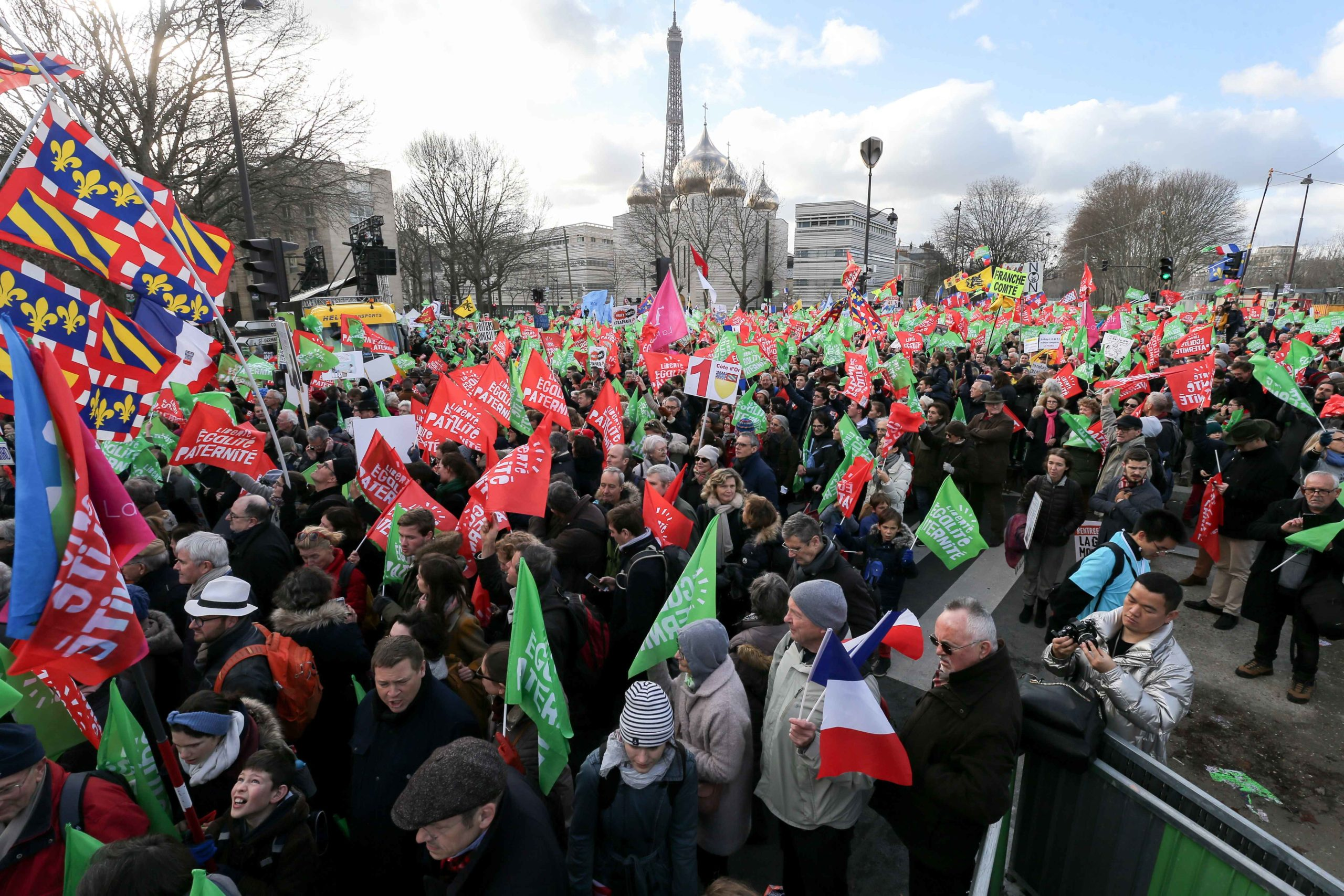 """Protesters hold flags not far from the Tour Eiffel during a demonstration called by the movement 'La Manif pour tous' against the """"Medically-assisted procreation (MAP) without a father"""" in Paris on January 19, 2020, two days before the debate on the Bioeth"""