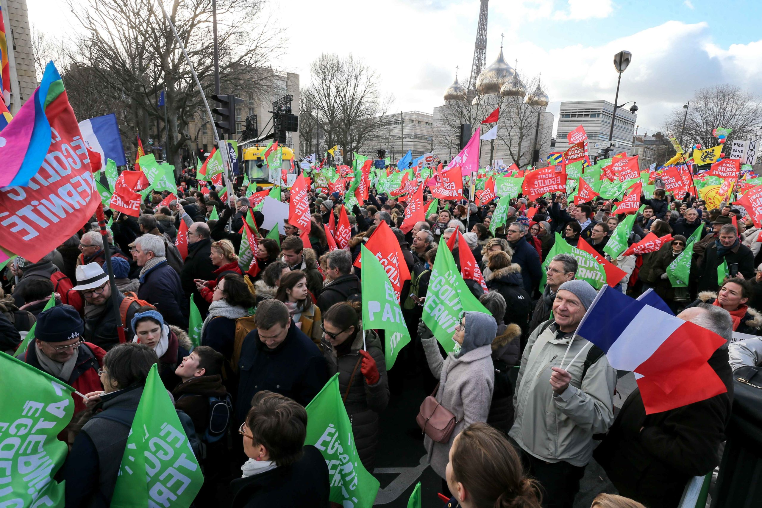 "Protesters hold flags not far from the Tour Eiffel during a demonstration called by the movement 'La Manif pour tous' against the ""Medically-assisted procreation (MAP) without a father"" in Paris on January 19, 2020, two days before the debate on the Bioeth"