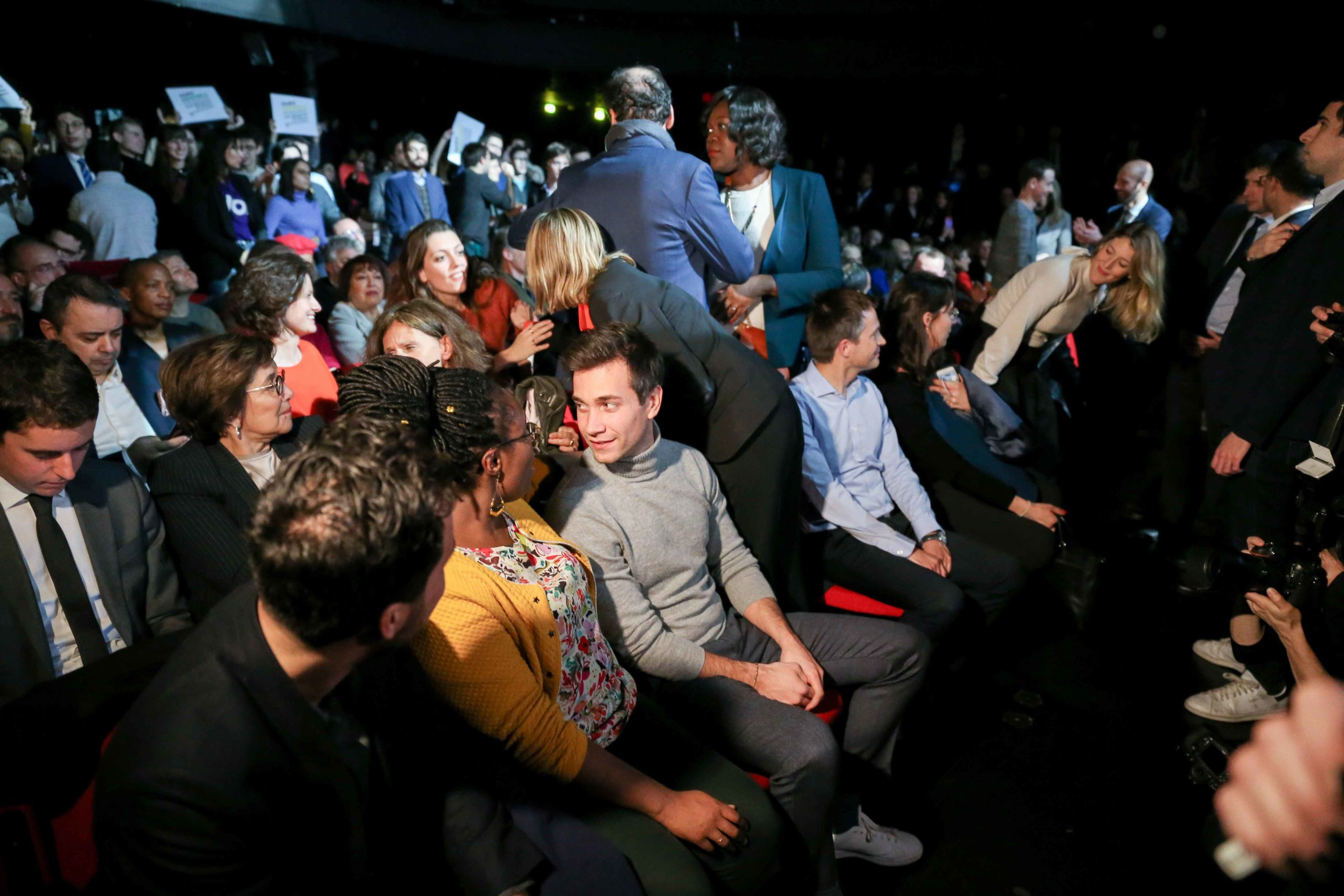 Politicians attend the Benjamin Griveaux meeting, at the Bobino theater in Paris, on January 27, 2020. Benjamin Griveaux is the official La Republique en Marche (LREM) candidate for the Paris 2020 mayoral election but the mathematician Cédric Villani, who
