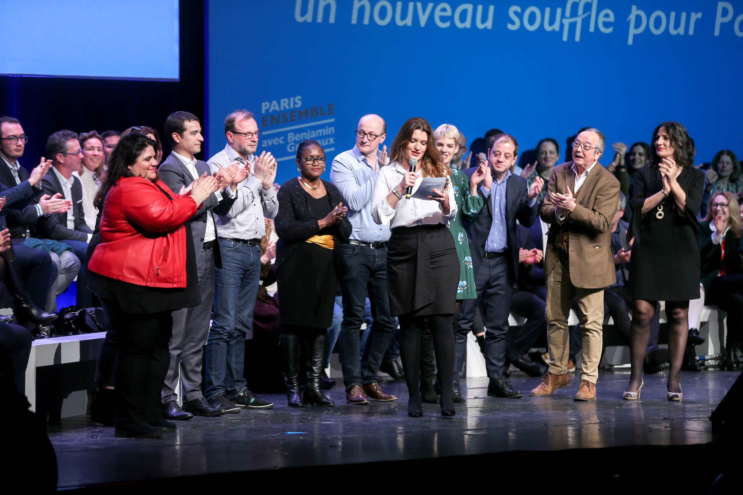 French Junior Minister for Gender Equality Marlene Schiappa (C), candidate in municipal elections in the 14th arrondissement of Paris, addresses at the Bobino theater for the Benjamin Griveaux meeting, in Paris, on January 27, 2020. Benjamin Griveaux is th