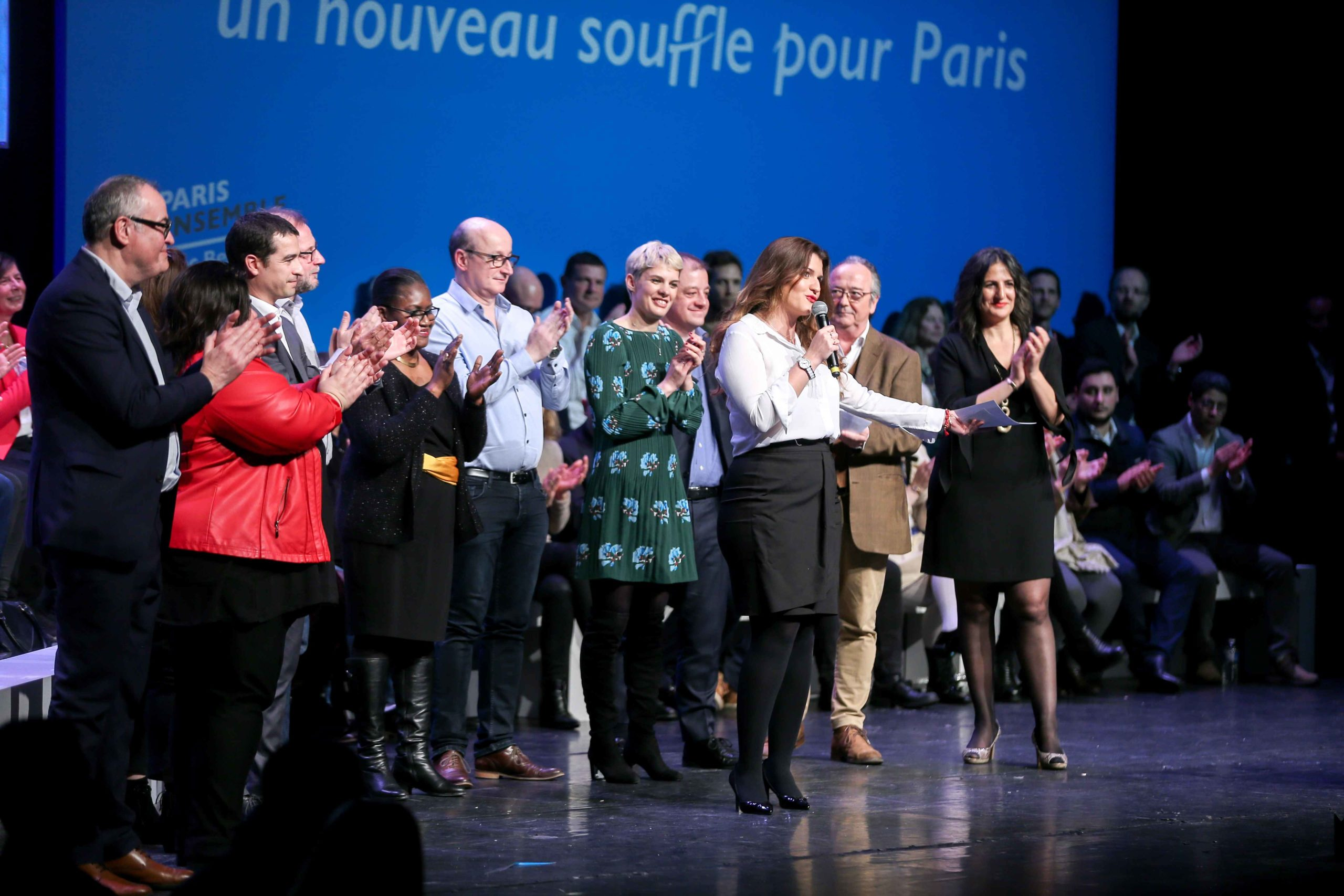French Junior Minister for Gender Equality Marlene Schiappa (3R), candidate in municipal elections in the 14th arrondissement of Paris, addresses at the Bobino theater for the Benjamin Griveaux meeting, in Paris, on January 27, 2020. Benjamin Griveaux is t