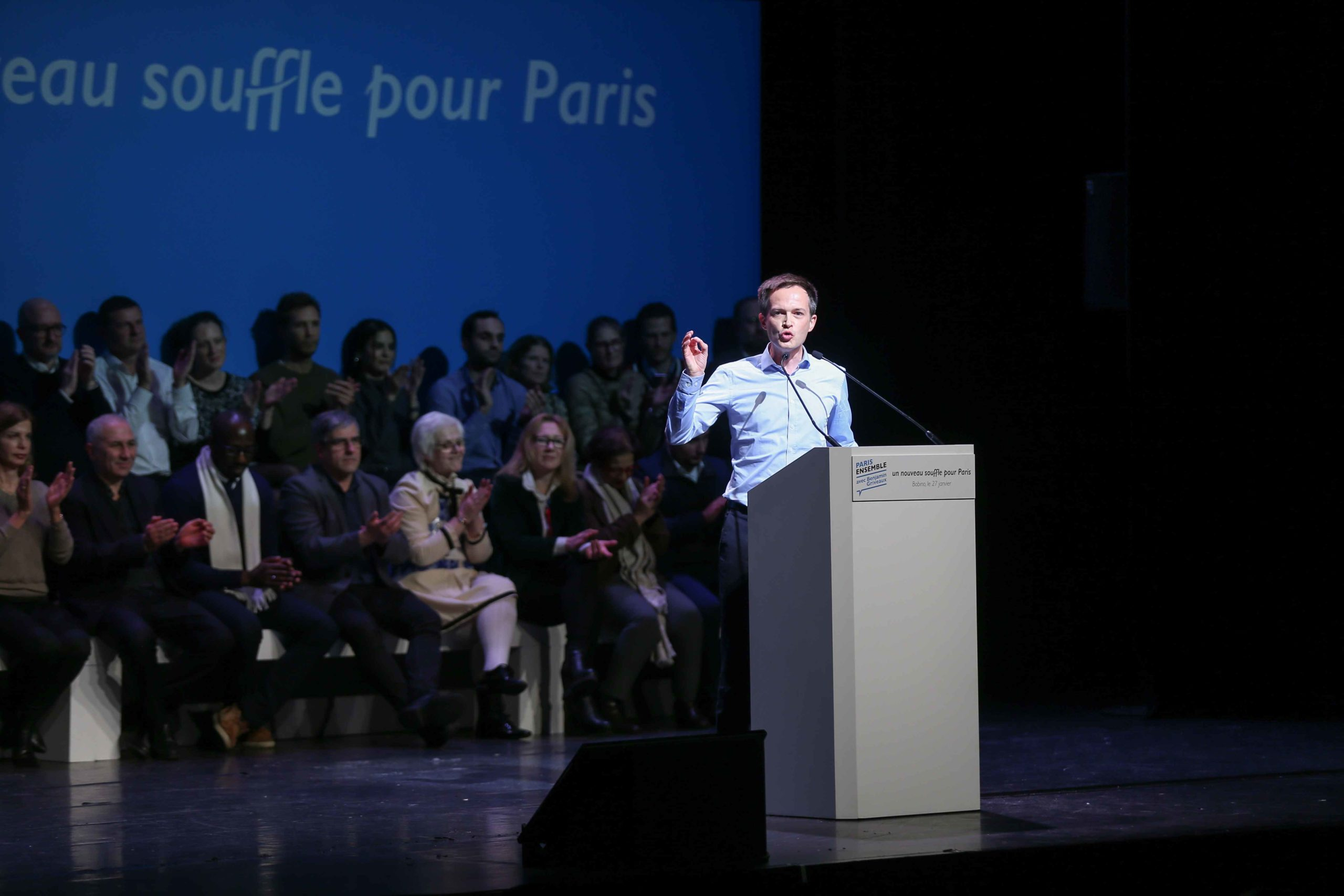 Union of Independent Democrats (UDI) party member of parliament Pierre-Yves Bournazel addresses at the Bobino theater for the Benjamin Griveaux meeting, in Paris, on January 27, 2020. Benjamin Griveaux is the official La Republique en Marche (LREM) candida