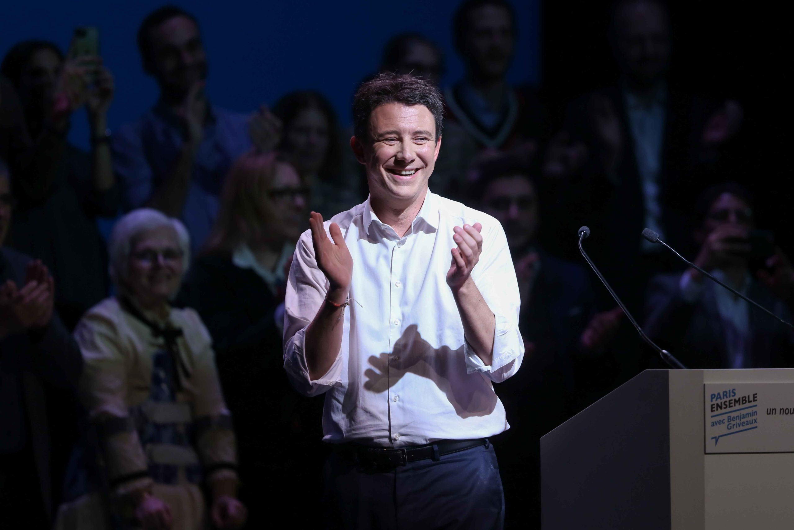 La Republique en Marche (LREM) candidate for the Paris 2020 mayoral election Benjamin Griveaux addresses at the Bobino theater, in Paris, on January 27, 2020. Benjamin Griveaux is the official LREM candidate for the Paris 2020 mayoral election but the math