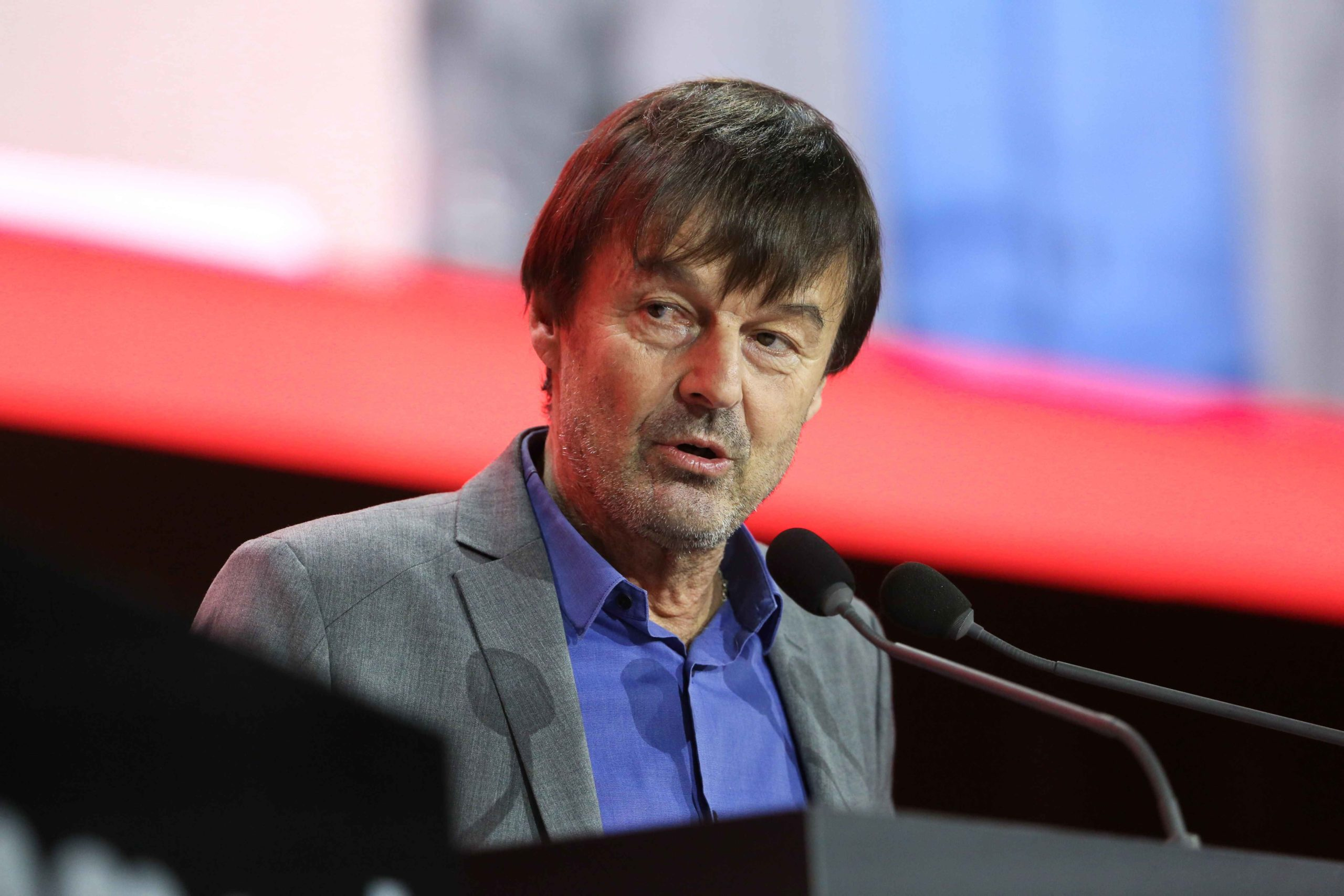 Former French Environment minister Nicolas Hulot delivers a speech during a debate following a report of the Abbe Pierre Foundation on poor quality housing conditions, on January 31, 2020 in La Defense, near Paris.