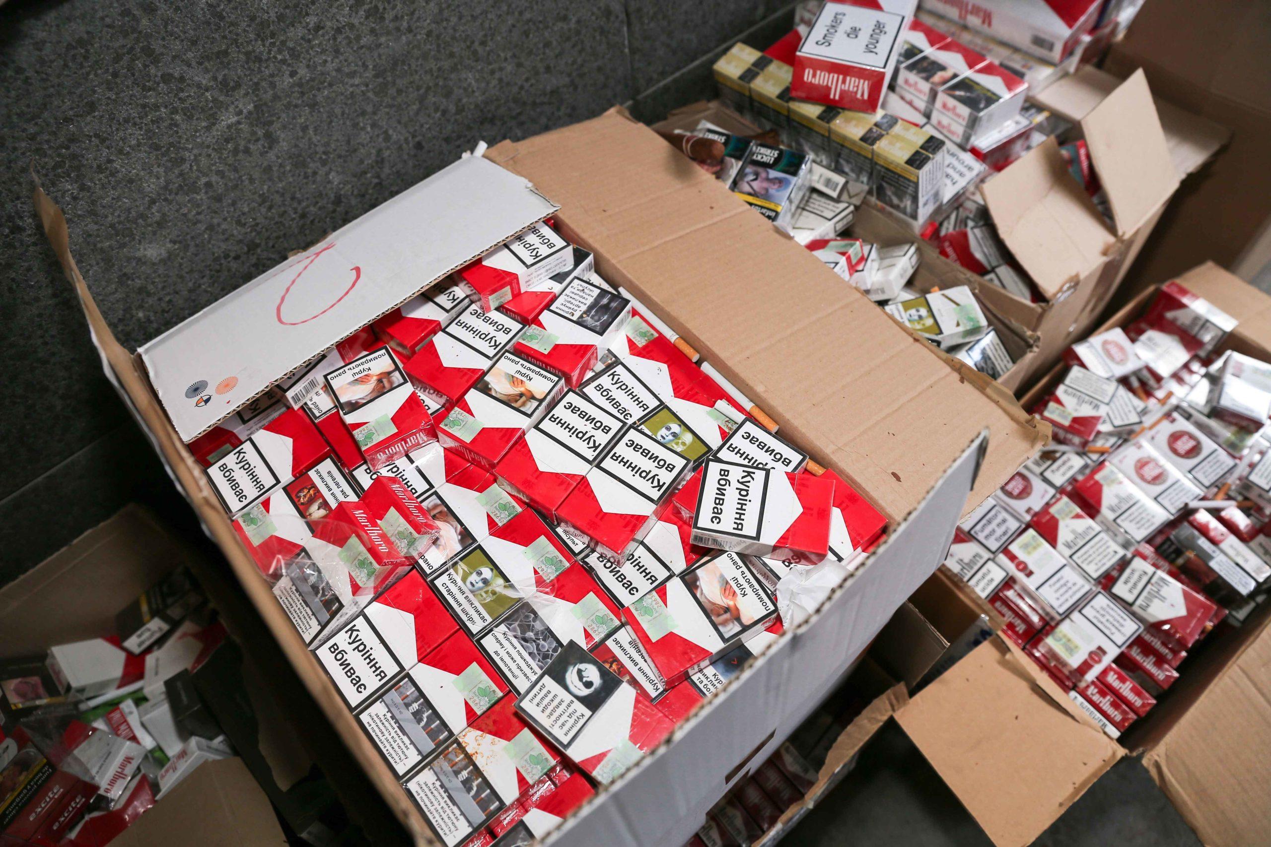 Les paquets de cigarettes de contrebande montrés à la presse. © Michel Stoupak. Mar 04.02.2020, 09:42:30.