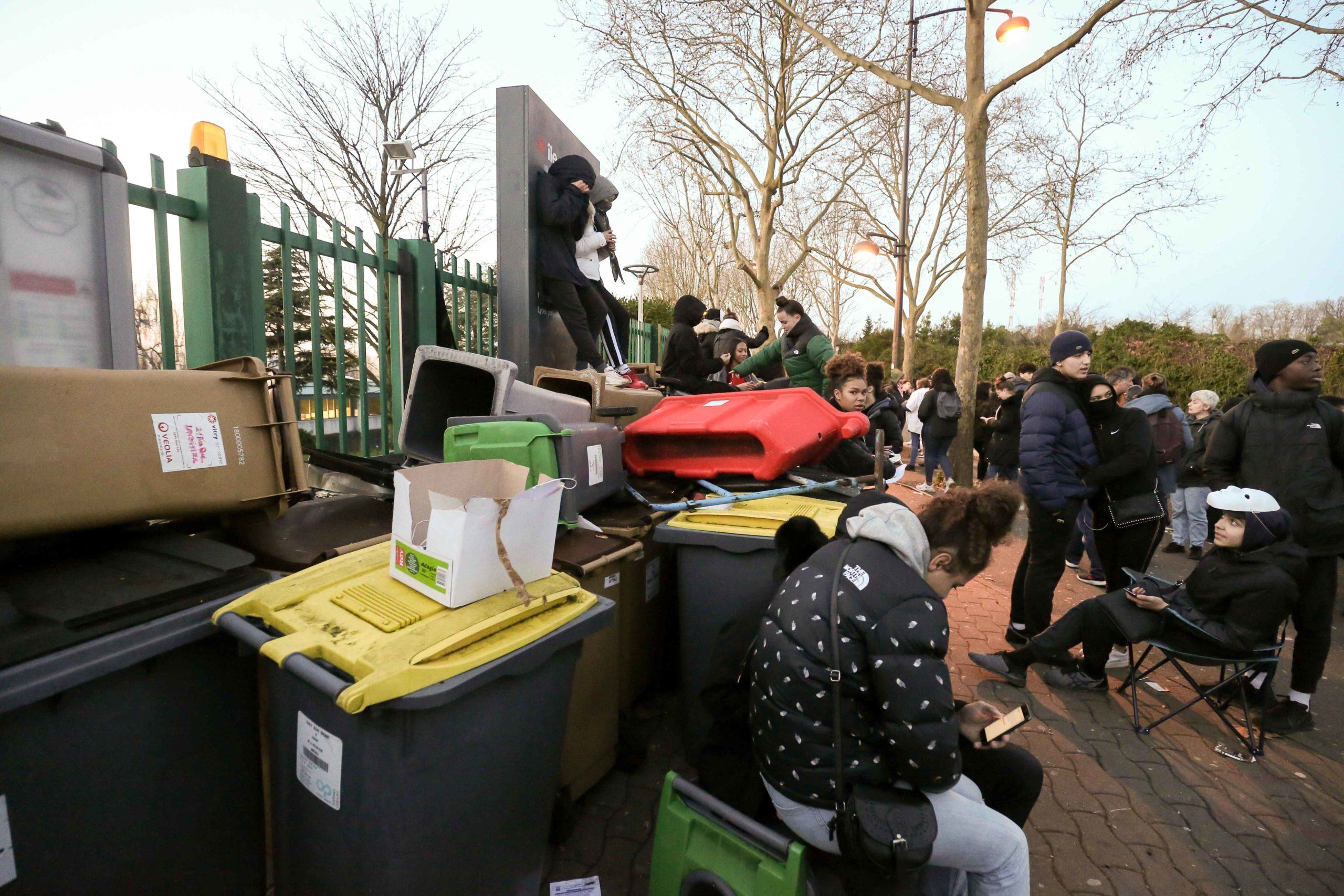 Students opposed to the implementation of the baccalaureate reform (E3C) organize a blockade at the Lycee Romain Rolland in front of their establishment, located in Vitry-sur-Seine, in the southern suburbs of Paris, on 6 February 6, 2020.The demonstration