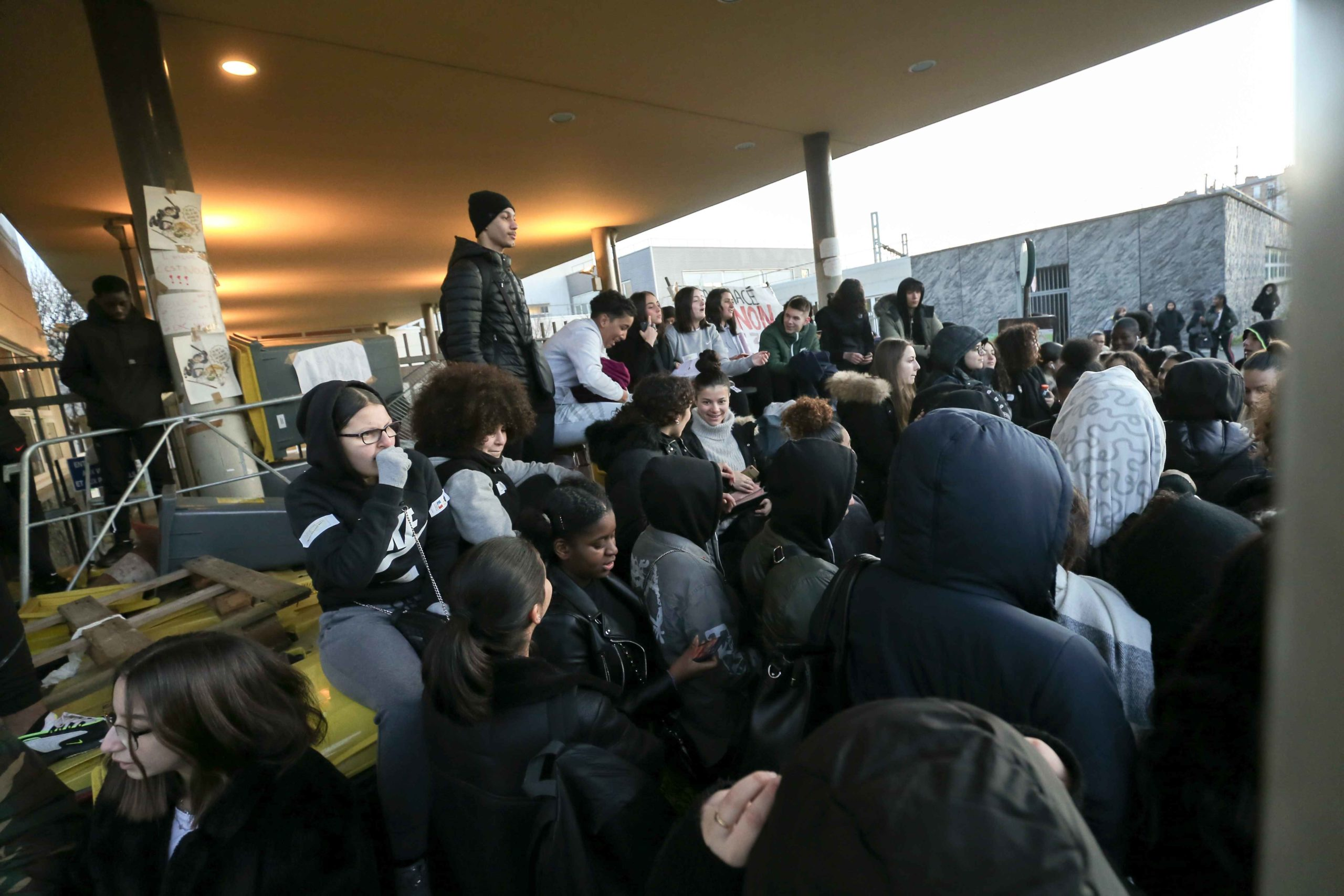 Students opposed to the implementation of the baccalaureate reform (E3C) organize a blockade at the Lycee Jean Macé in front of their establishment, located in Vitry-sur-Seine, in the southern suburbs of Paris, on 6 February 6, 2020.The demonstration took