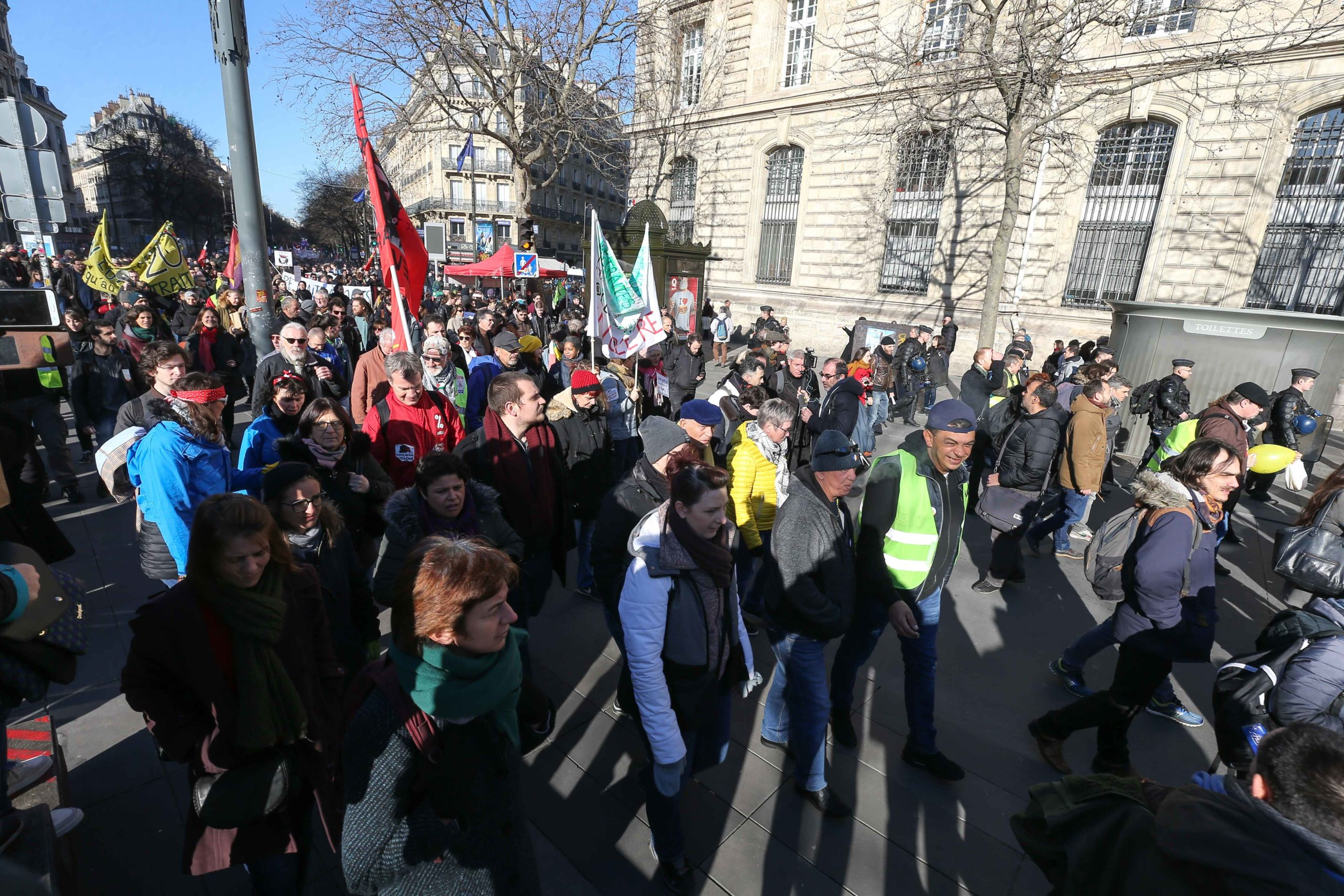 Protesters are taking to the streets in Paris on 6 February 6, 2020, during a demonstration against the French government's plan to overhaul the country's retirement system in Paris, on February 6, 2020. Protesters took to the streets in a ninth inter-prof