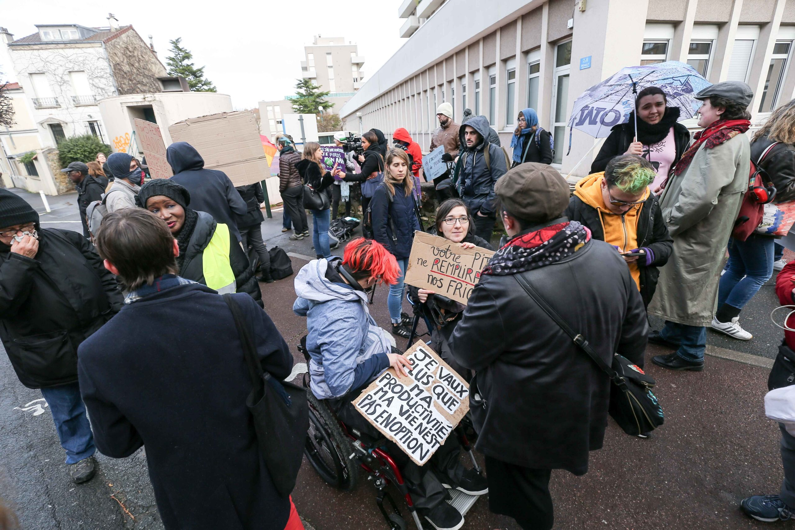 Protestors demonstrate for a greater inclusion of people with disabilies in front of the Departemental Center for Disabled Persons (Maison départementale des personnes handicapées MDPH) in Nanterre, in the inner suburbs of Paris, on February 11, 2020, th