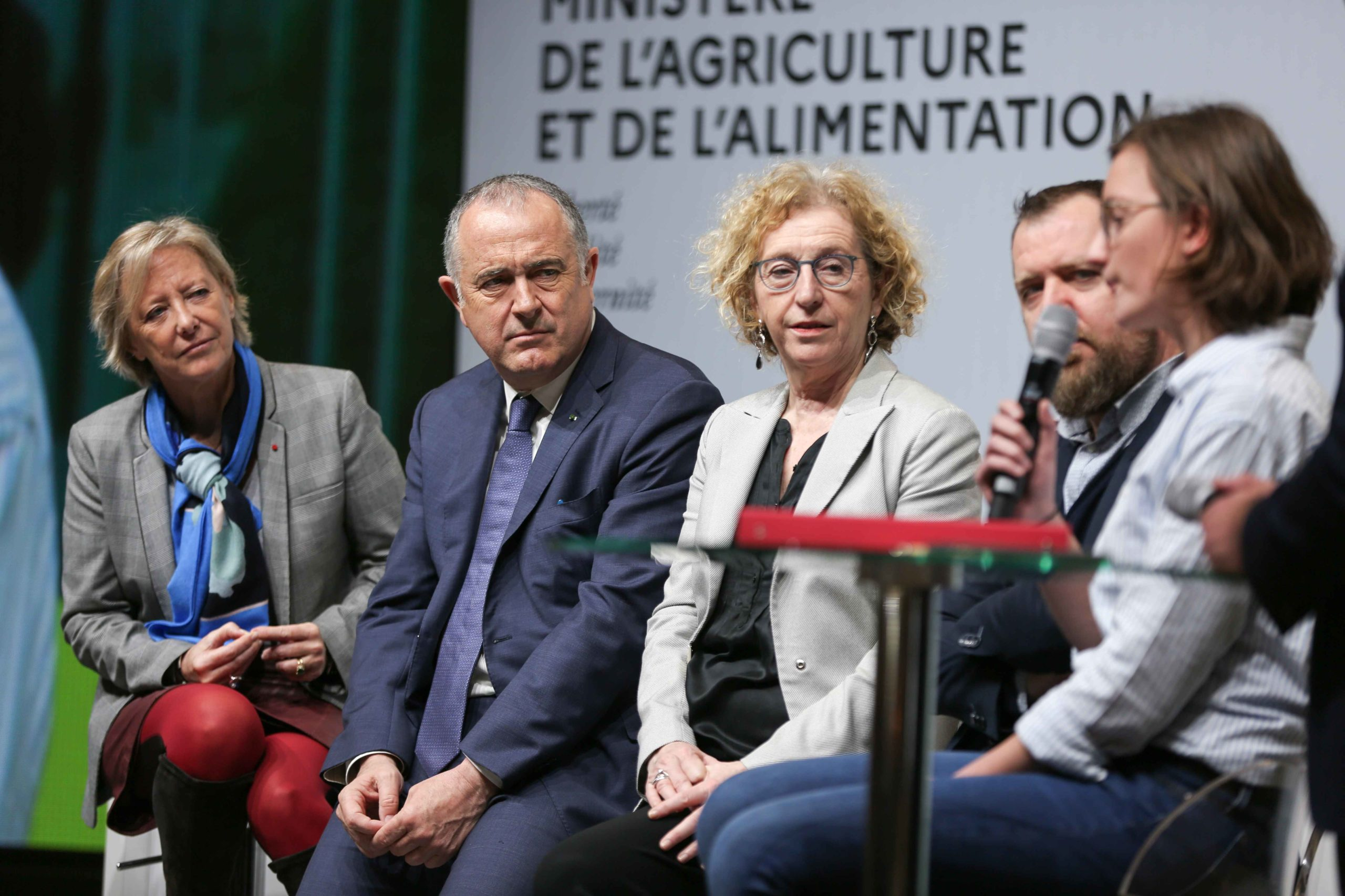(L to R) French Junior Minister for Disability Issues Sophie Cluzel, Agriculture Minister Didier Guillaume and French Labour Minister Muriel Penicaud take part in a debate during the international Agriculture Fair in Paris on February 25, 2020.