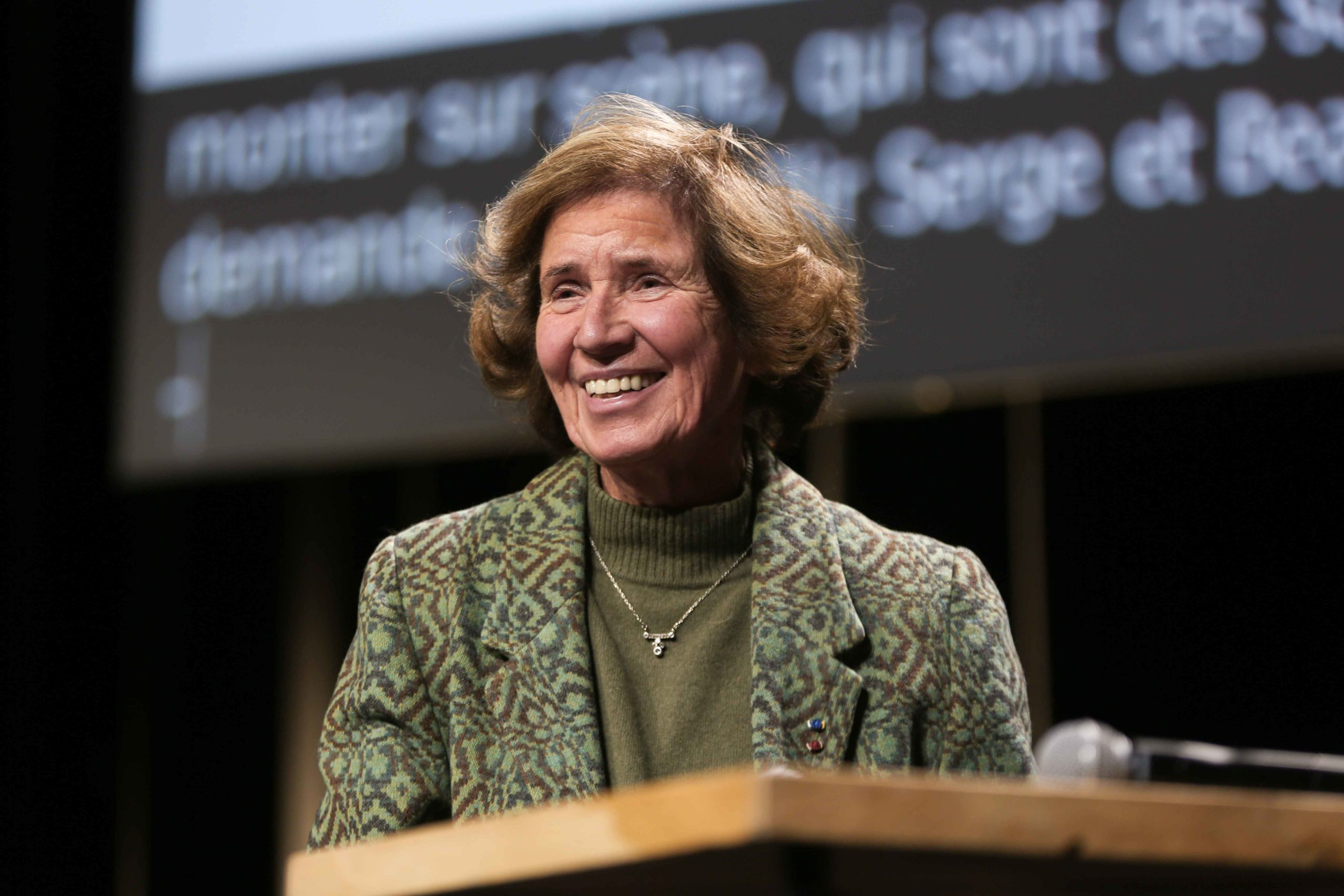 French nazi hunter Beate Klarsfeld takes part as Paris Mayor and candidate for re-election Anne Hidalgo supporter in in a campaign meeting at the Elysee Montmartre venue in Paris, on February 26, 2020, ahead of March 2020 mayoral elections in France
