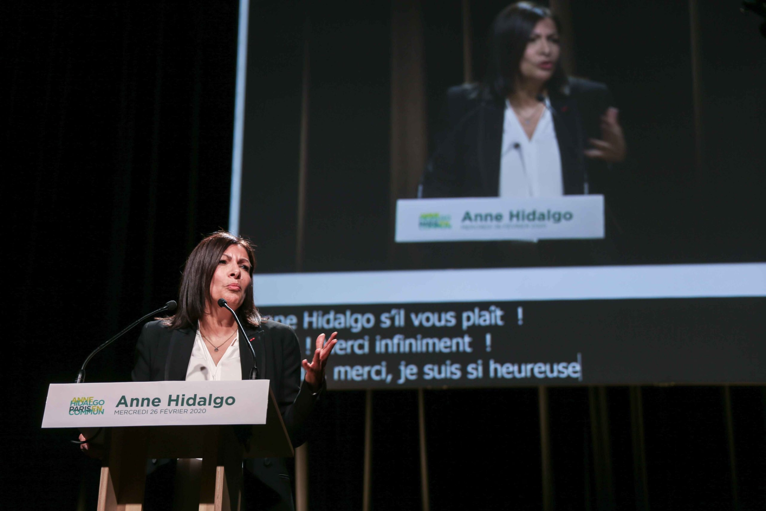 Paris Mayor and candidate for re-election Anne Hidalgo gestures as she delivers a speech during a campaign meeting at the Elysee Montmartre venue in Paris, on February 26, 2020, ahead of March 2020 mayoral elections in France.