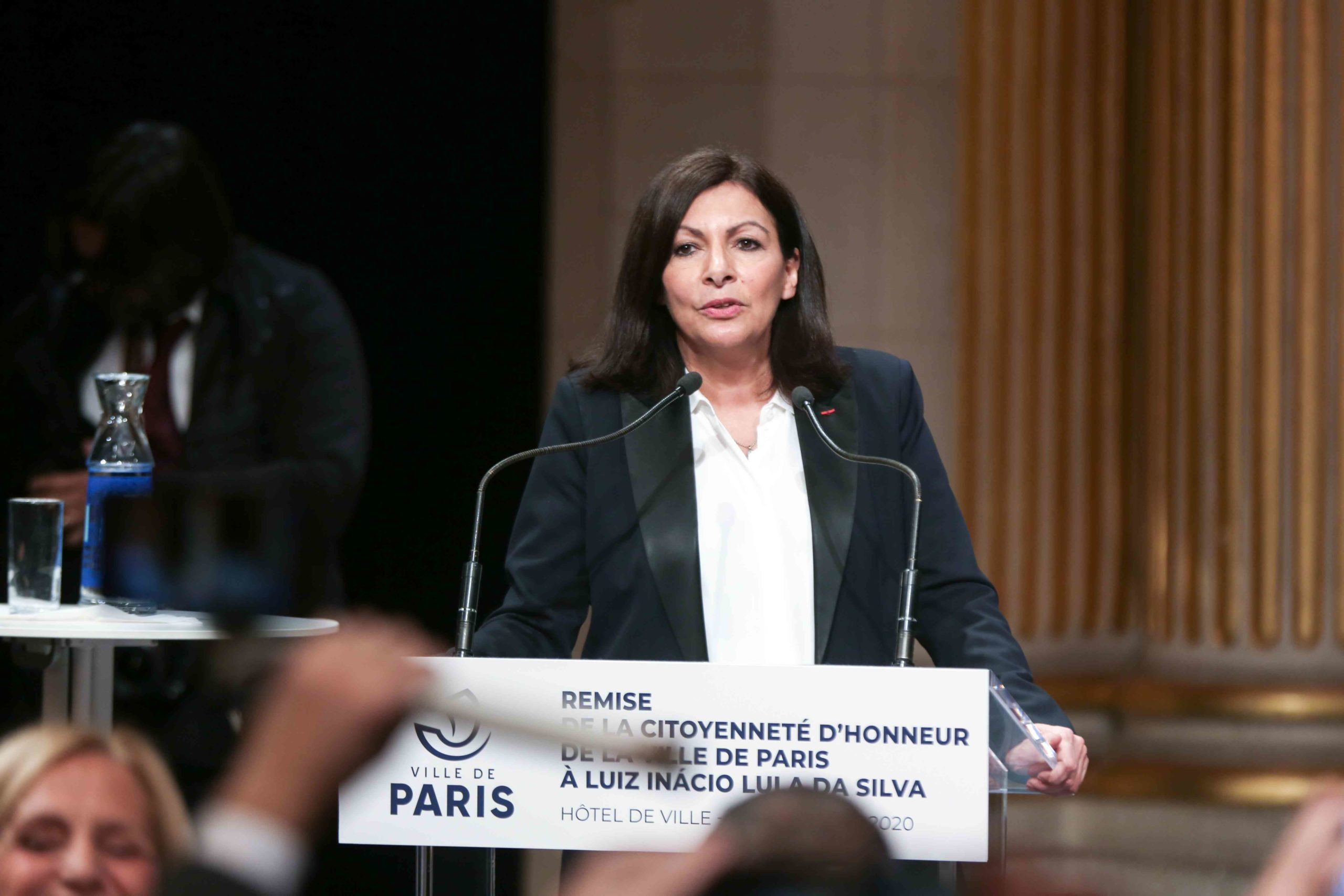 Paris Mayor and candidate for re-election Anne Hidalgo speaks during a ceremony at the City Hall of Paris, on March 2, 2020, during wich former Brazilian president Luiz Inacio Lula da Silva was named  honorary citizen of the city of Paris.