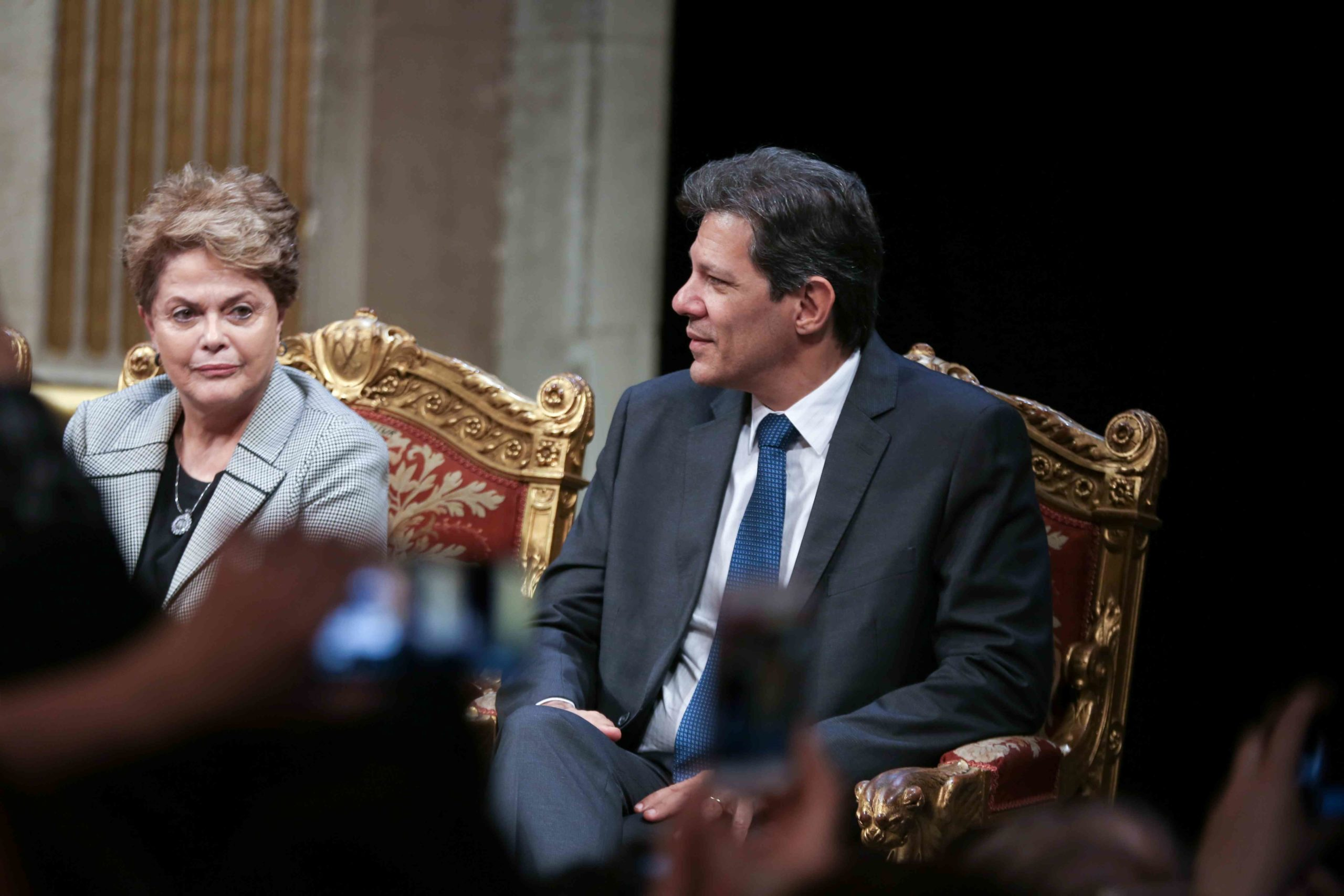 (Lto R)  Former Brazilian president Dilma Rousseff and former Sao Paolo Mayor Fernando Hadda take part in a ceremony at the City Hall of Paris, on March 2, 2020, during wich the President Lula da Silva was named  honorary citizen of the city of Paris.