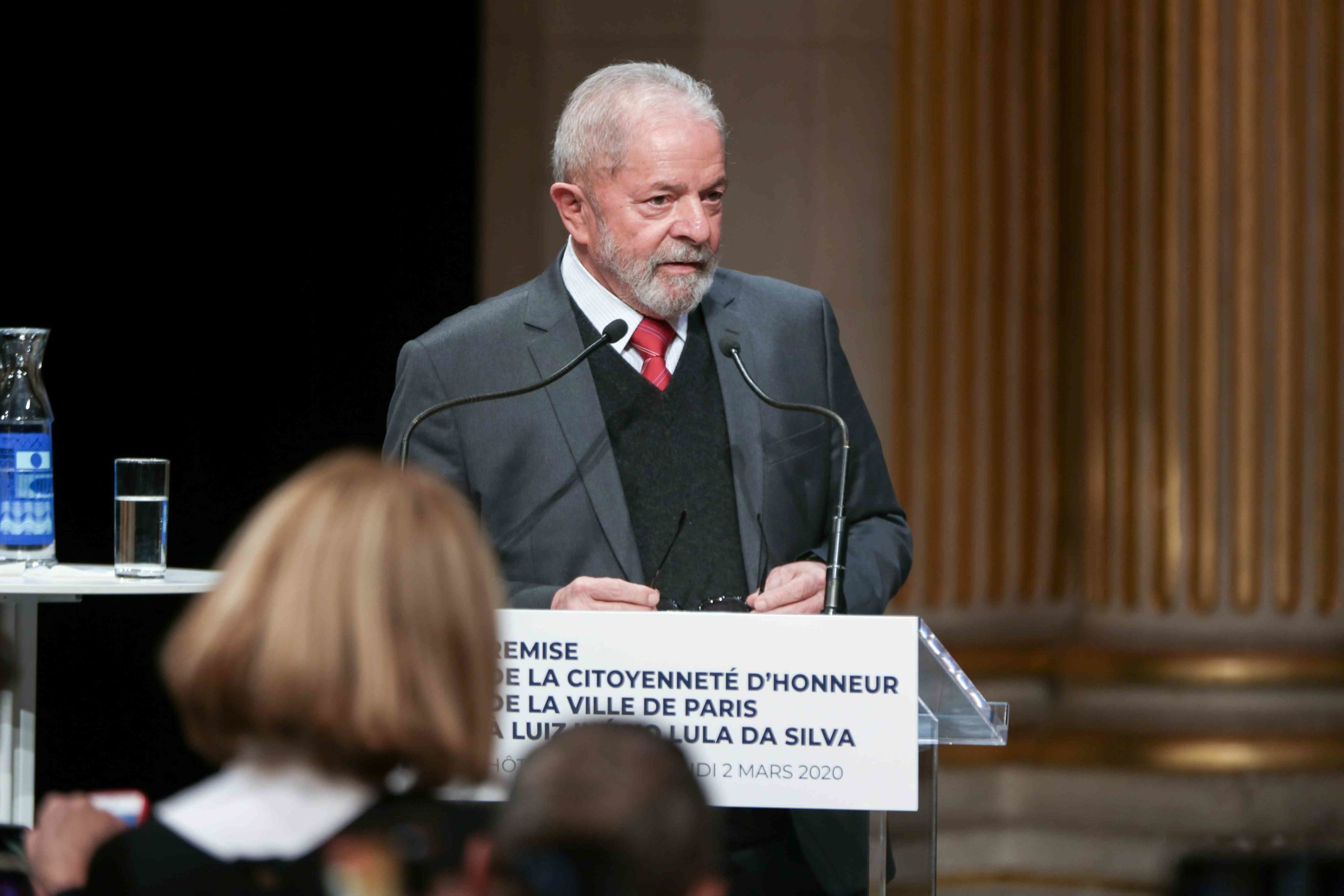 Former Brazilian president Luiz Inacio Lula da Silva speaks during a ceremony at the City Hall of Paris, on March 2, 2020, during wich he was named  honorary citizen of the city of Paris.