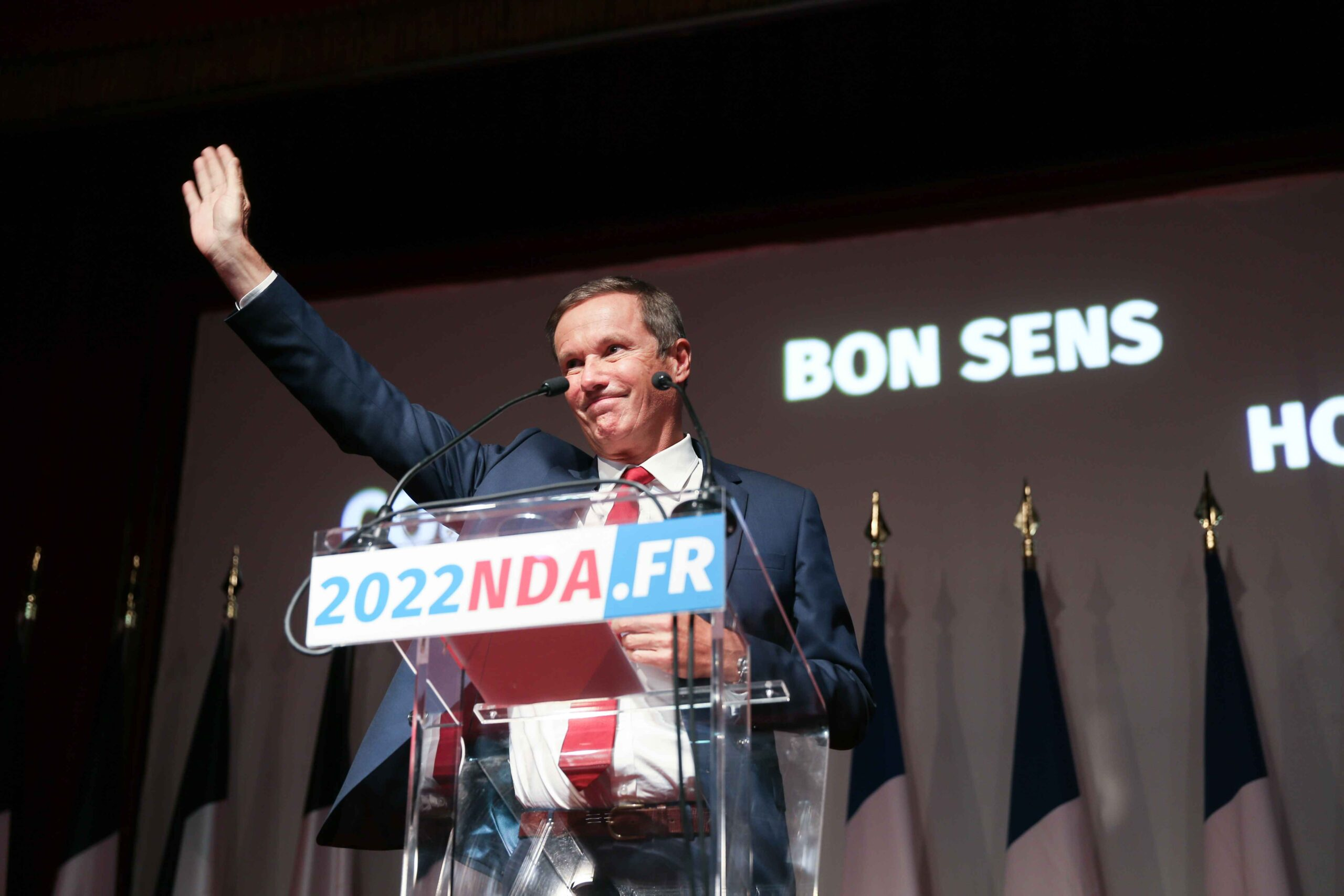 """Head of """"Debout la France"""" far-right party Nicolas Dupont-Aignan delivers a speech during a meeting marking the start of the political year, on September 26, 2020 in Paris."""