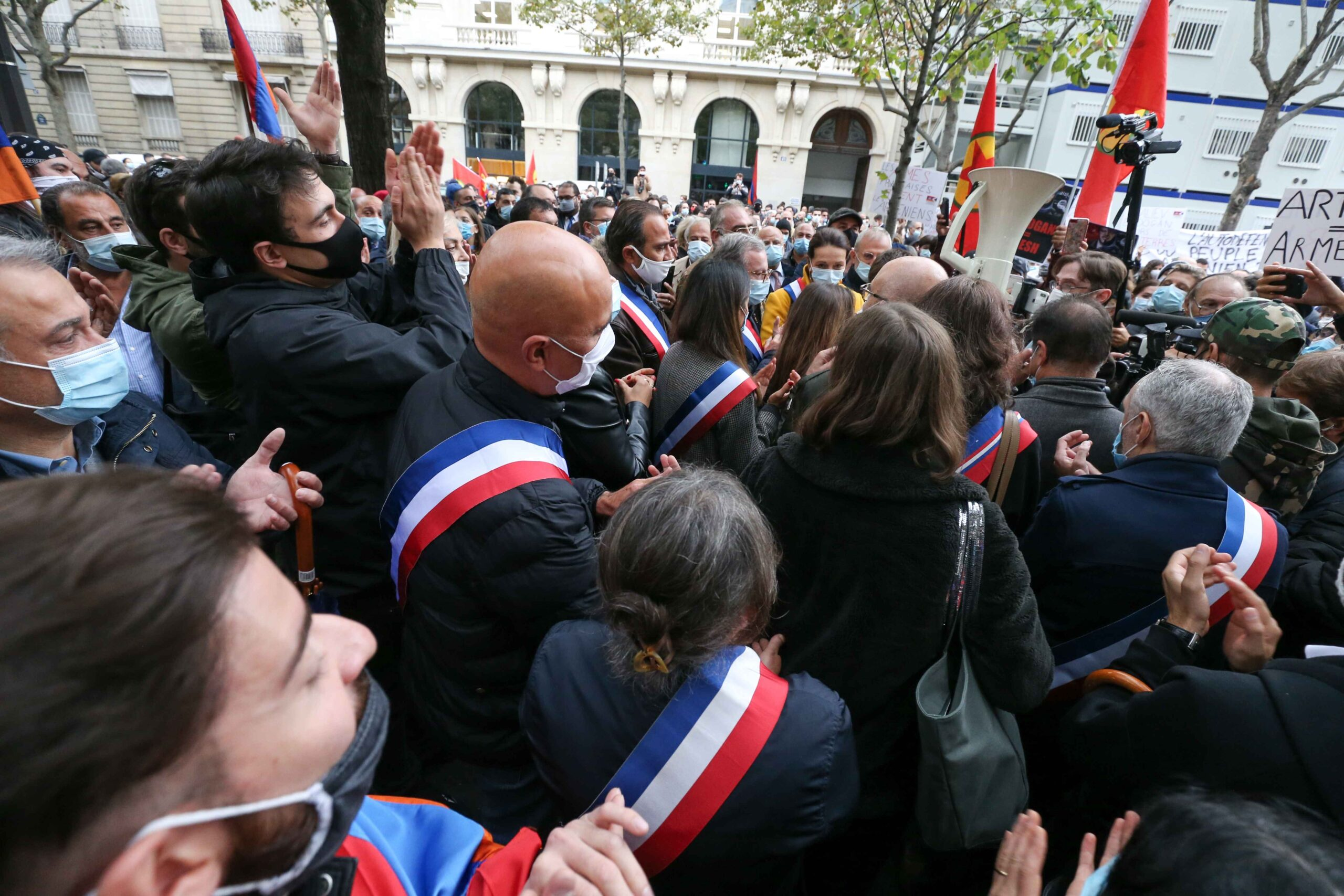French elected representatives take part in a demonstration of Armenians in front of the Azerbaijan ambassy in Paris, France, on September 29, 2020 against the Azerbayan attacks on Nagorno Karabakh.