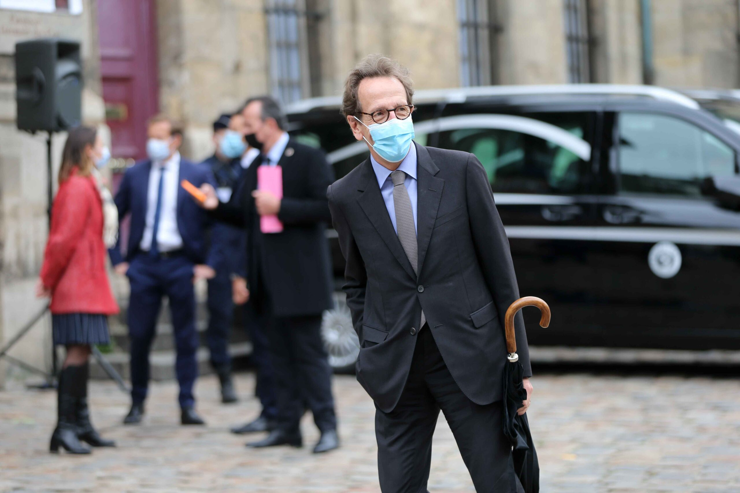 Gilles Le Gendre, former head of French centre-right ruling party La Republique en Marche (LREM) arrives for the funerals of French singer Juliette Greco, at the Saint-Germain-des-Pres church in Paris, on October 5, 2020. Legendary French singer Juliette G