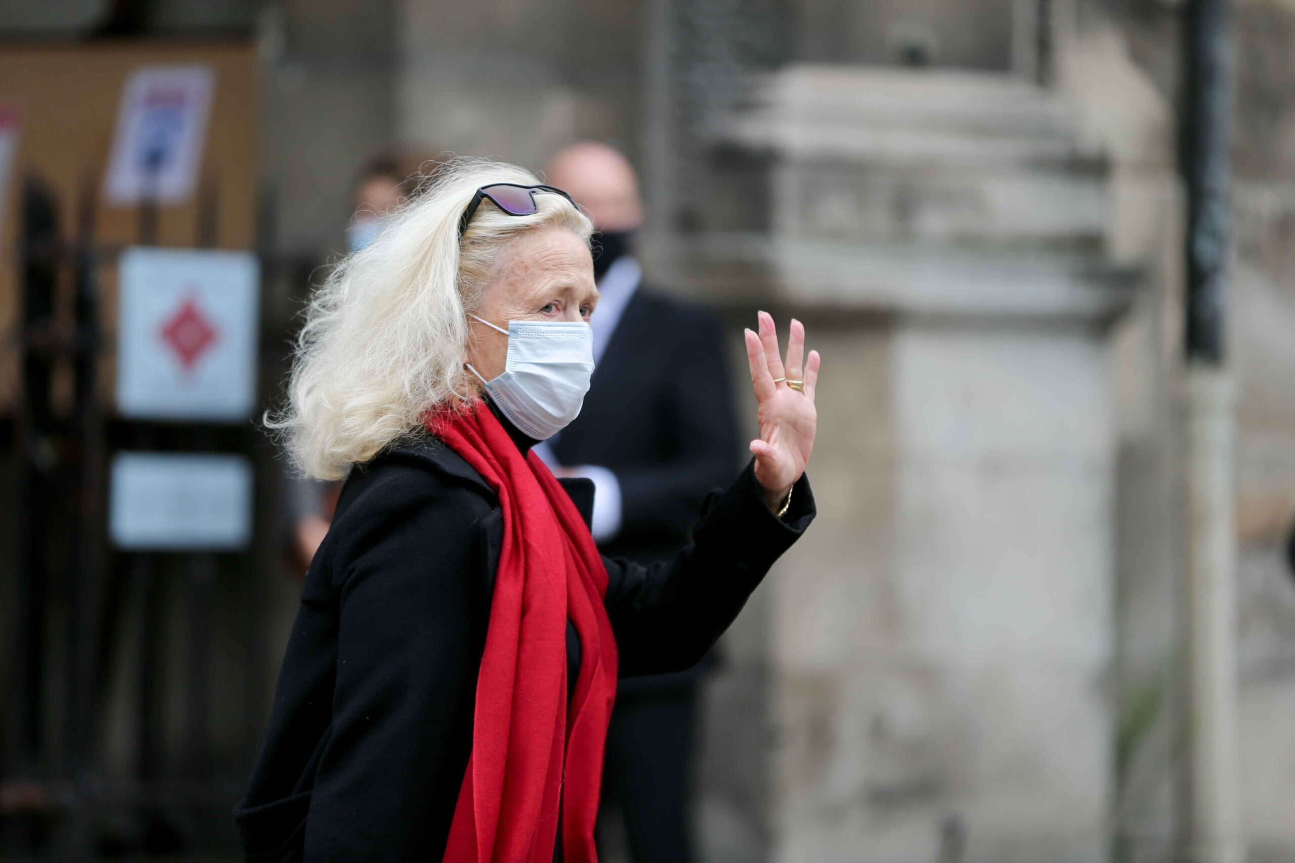 French actress Brigitet Fossey waves as she arrives for the funerals of French singer Juliette Greco, at the Saint-Germain-des-Pres church in Paris, on October 5, 2020. Legendary French singer Juliette Greco whose career spanned over half a century, has di