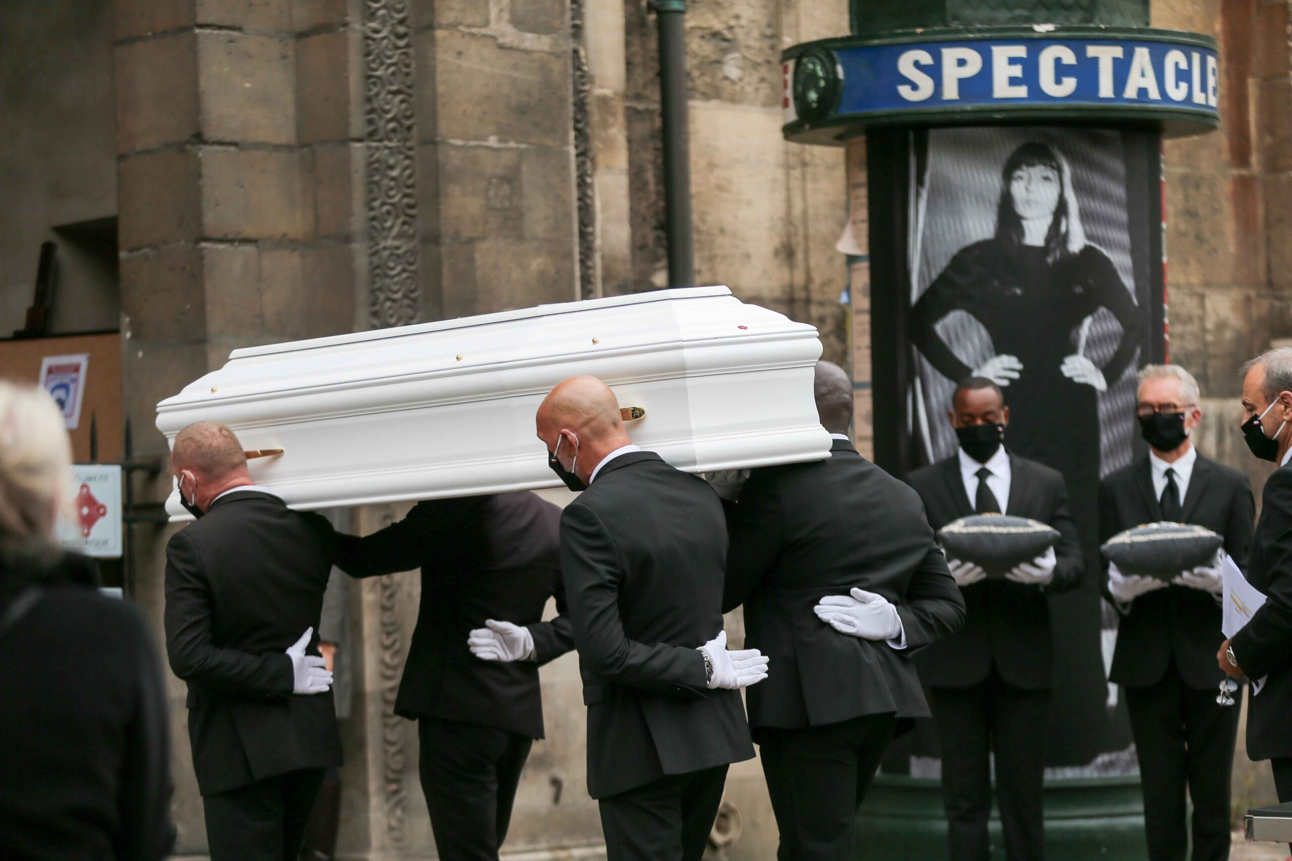 Pallbearers carry the coffin of French singer Juliette Greco during her funeral ceremony at the Saint-Germain-des-Pres church in Paris, on October 5, 2020. Legendary French singer Juliette Greco, whose career spanned over half a century, died aged 93, on 2