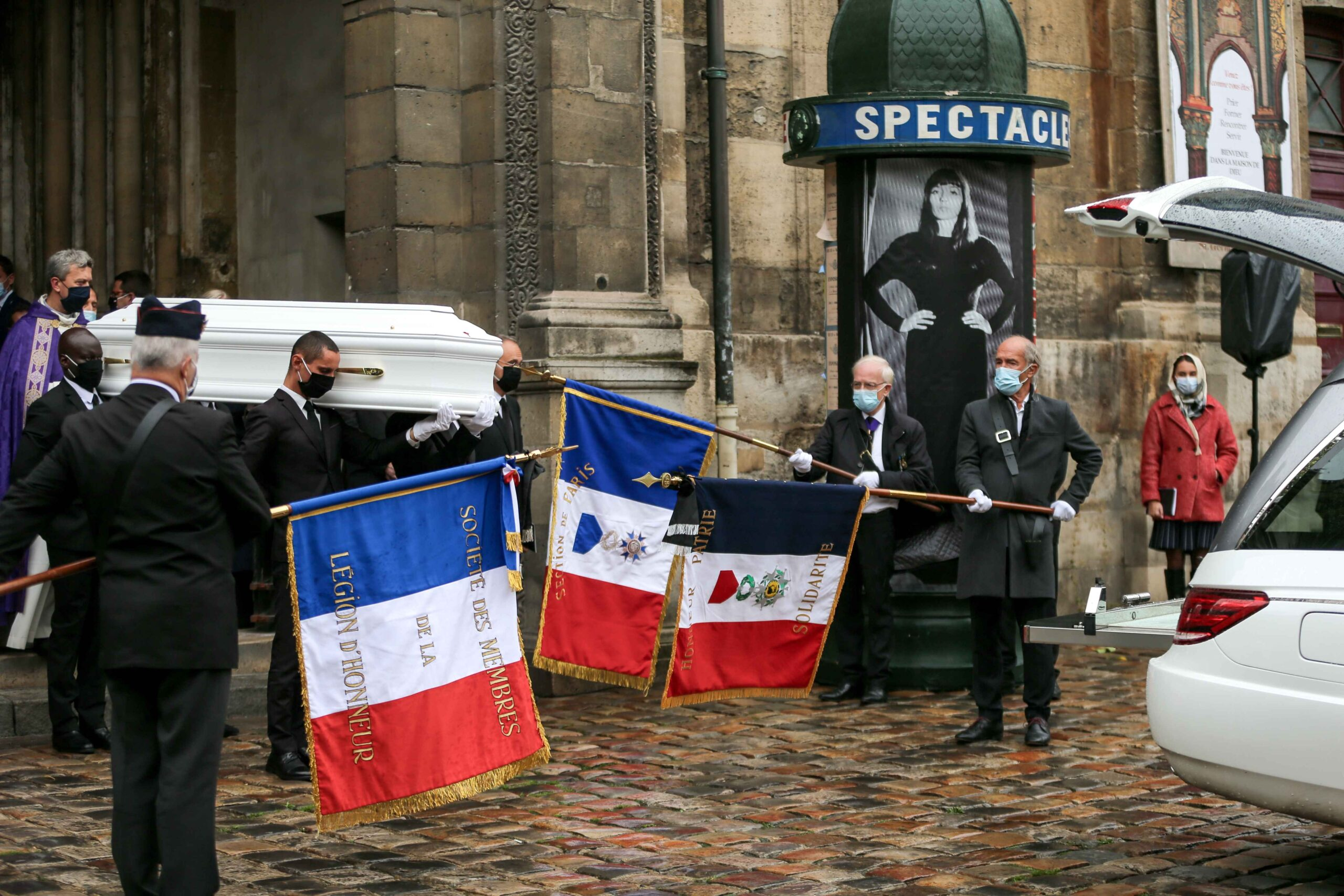 Pallbearers carry out the coffin of French singer Juliette Greco during her funeral ceremony at the Saint-Germain-des-Pres church in Paris, on October 5, 2020. Legendary French singer Juliette Greco, whose career spanned over half a century, died aged 93,