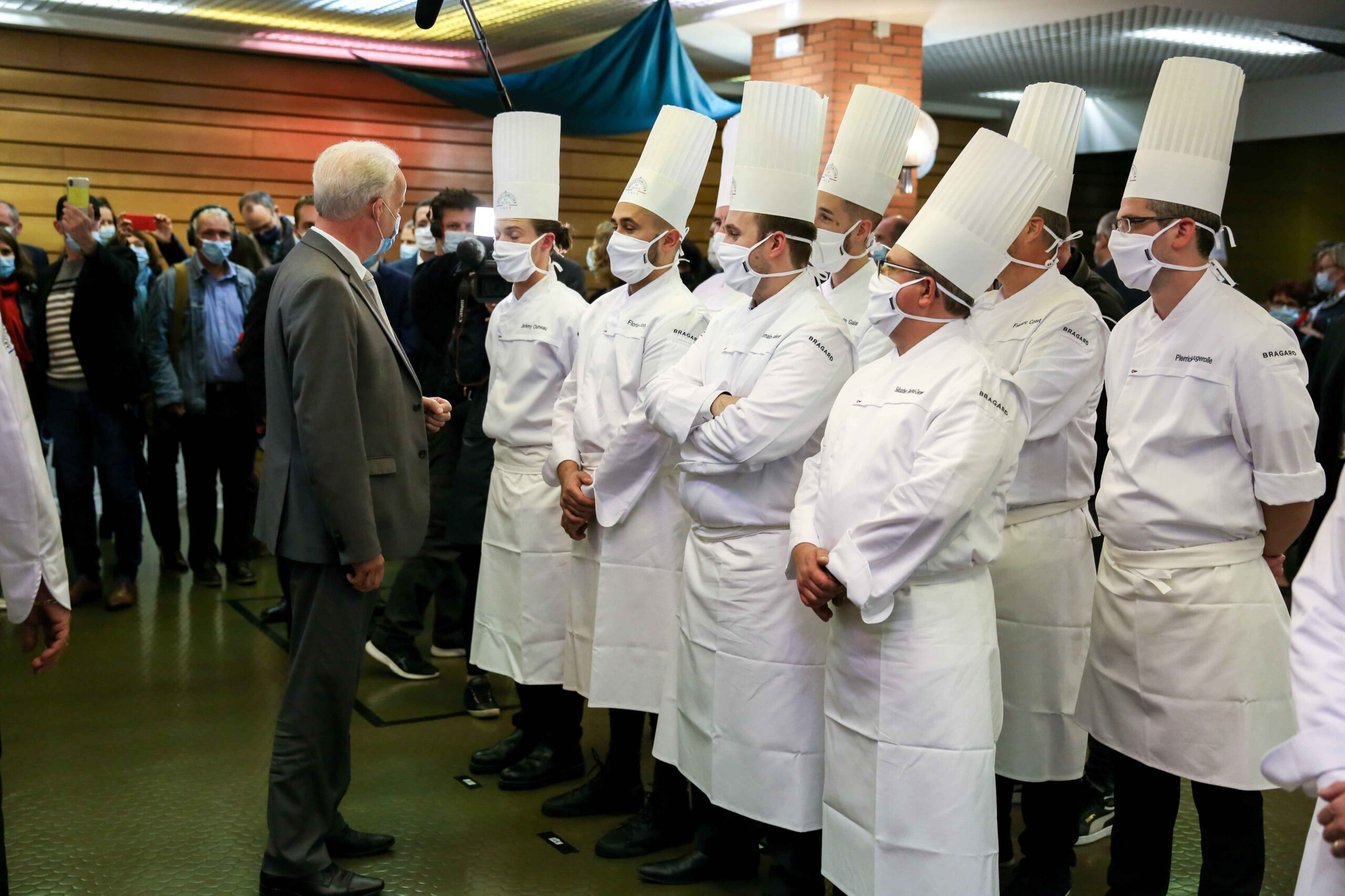 French Junior Minister of Small and Medium Entreprises Alain Griset (L) visits the Culinary Professions Centre of Excellence (Centre d'excellence des professions culinaires – CEPROC) for the awards ceremony of the Grand Prix of France for artisanal cha